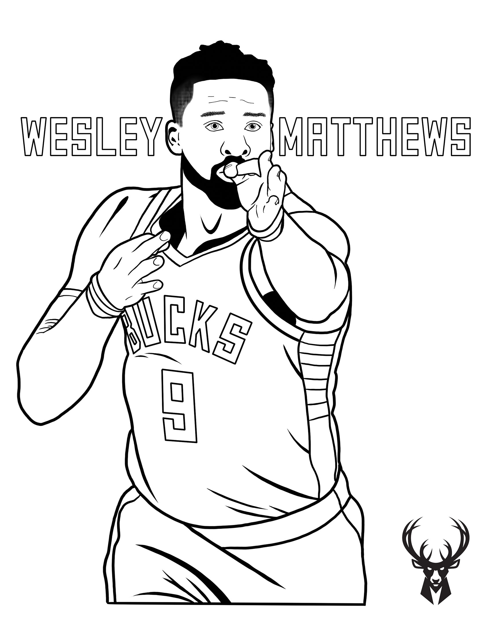Bucks Kids Pages Color Wesley Matthews