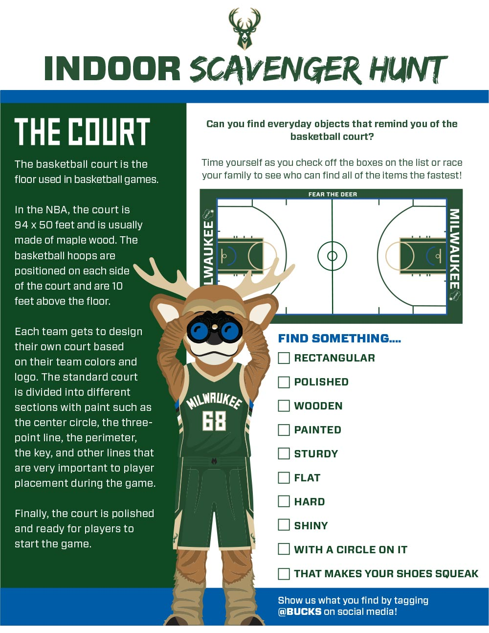 Bucks Kids Pages Indoor Scavenger Hunt: The Court