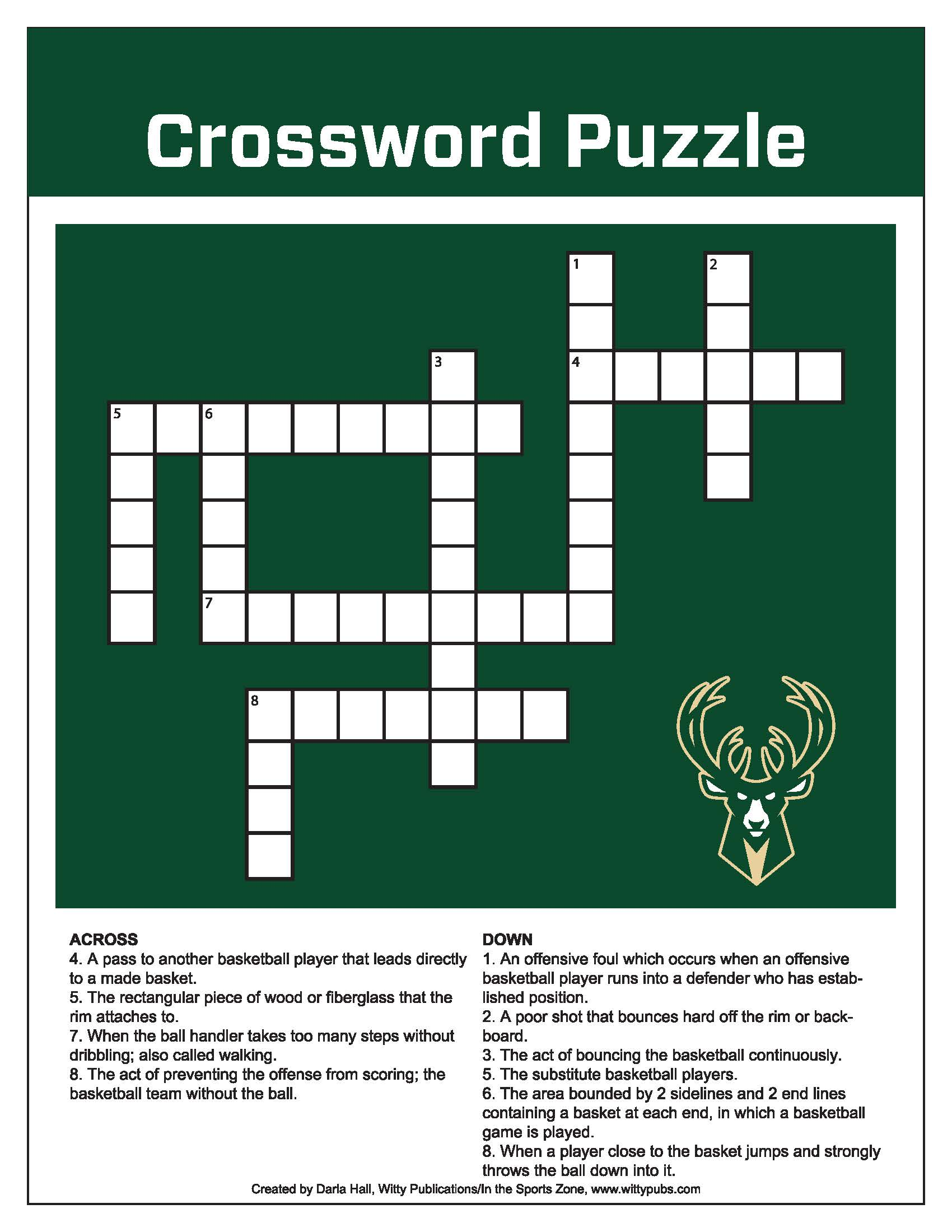 Bucks Kids Pages Crossword Puzzle