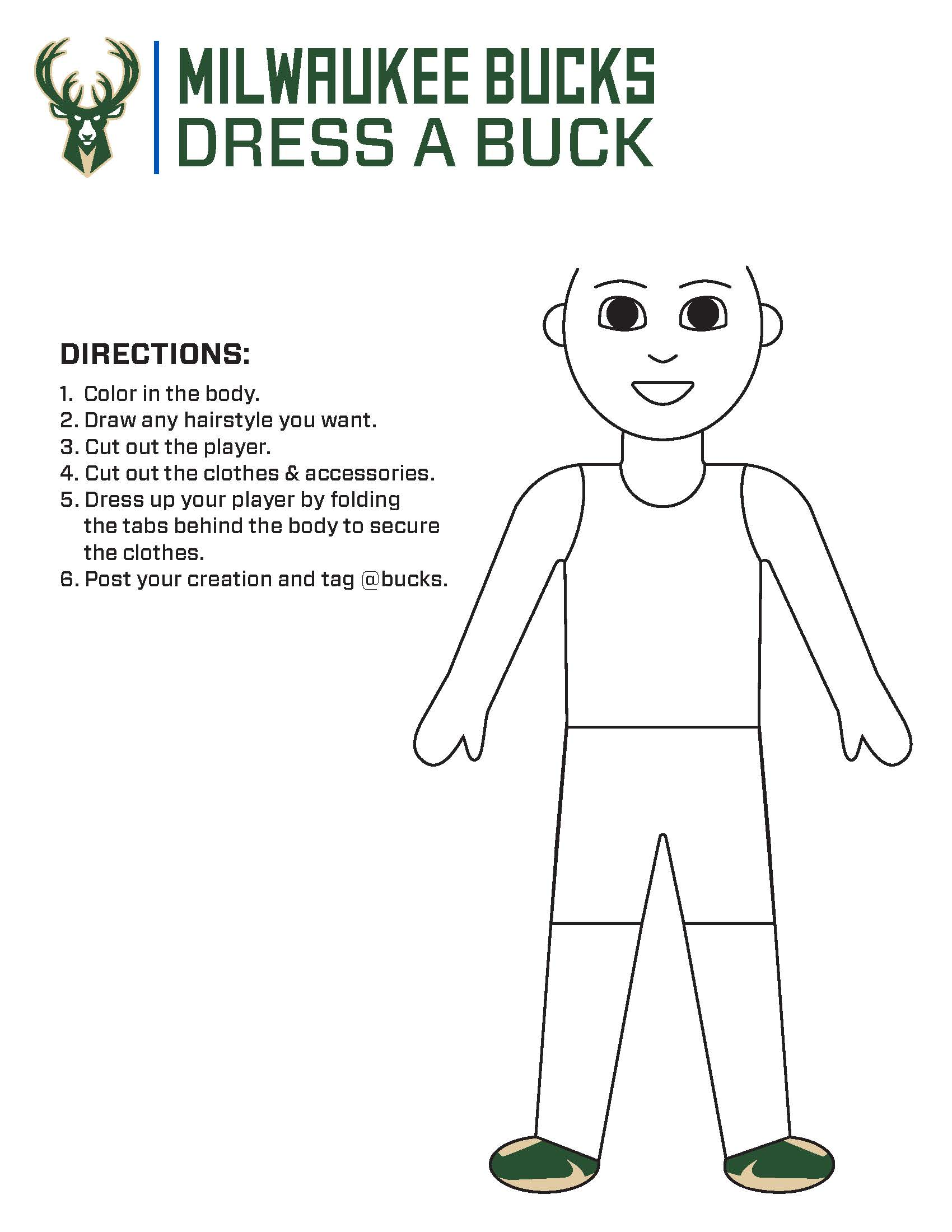 Bucks Kids Pages Dress a Buck