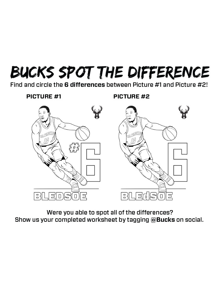 Bucks Kids Pages Spot The Difference: Eric Bledsoe