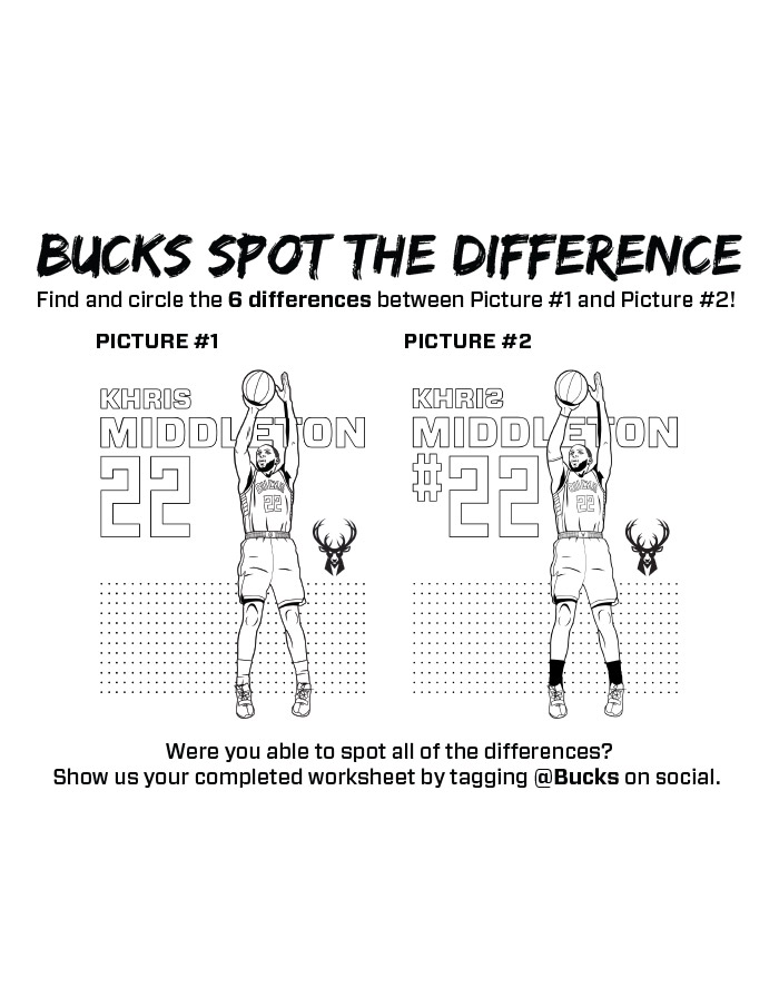 Bucks Kids Pages Spot The Difference: Khris Middleton