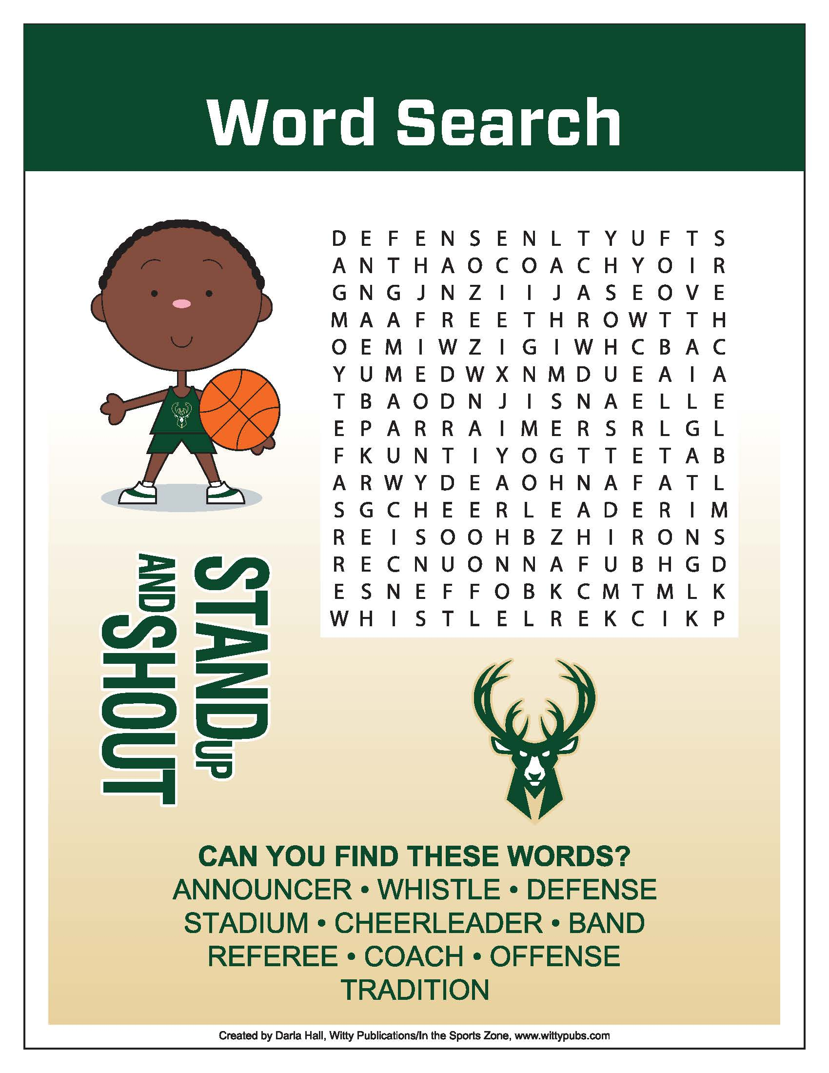 Bucks Kids Pages Word Search