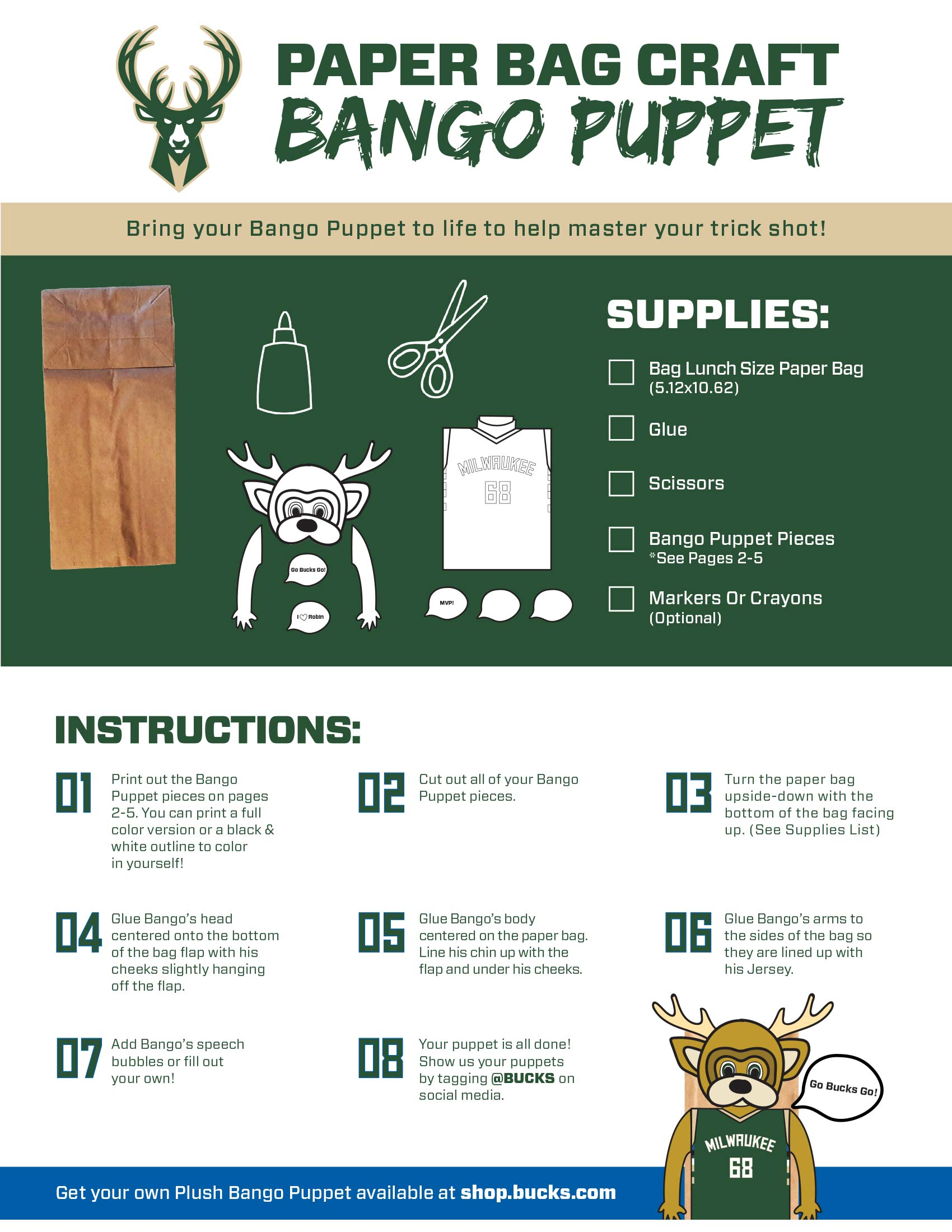 Bucks Kids Pages Bango Paper Bag Puppet