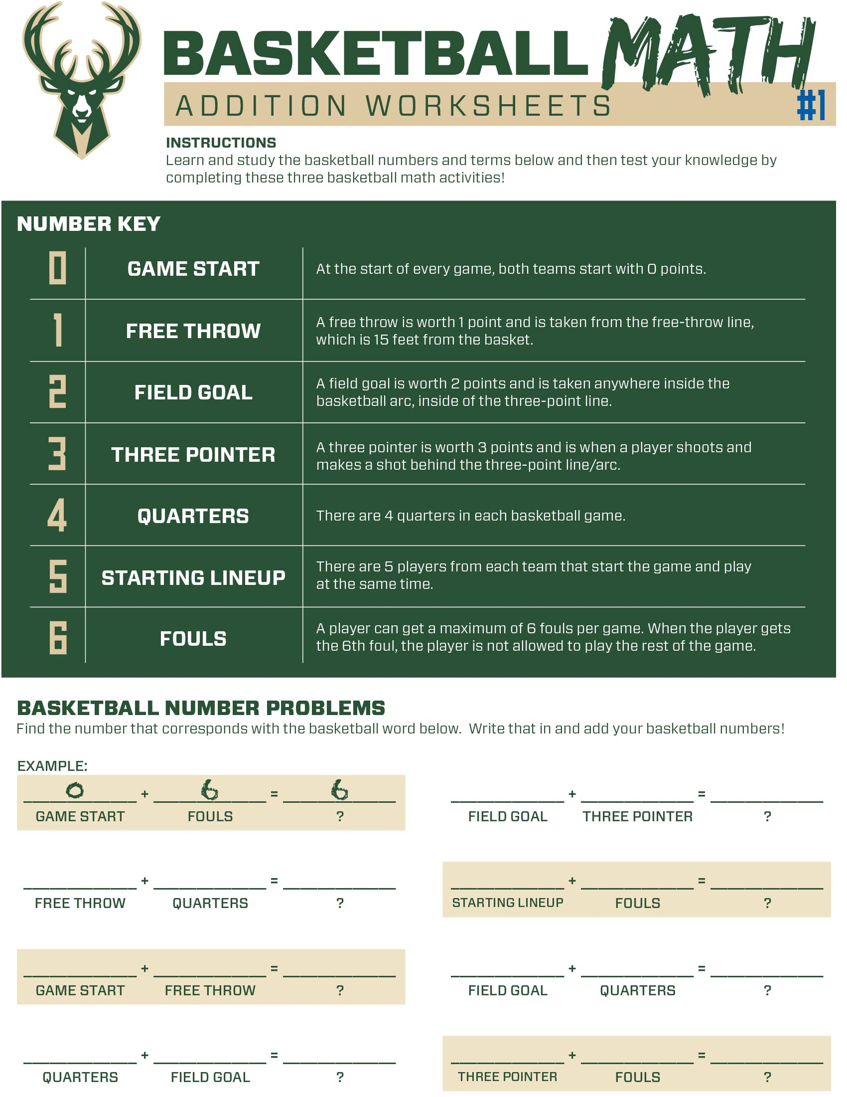 Bucks Kids Pages Basketballmath