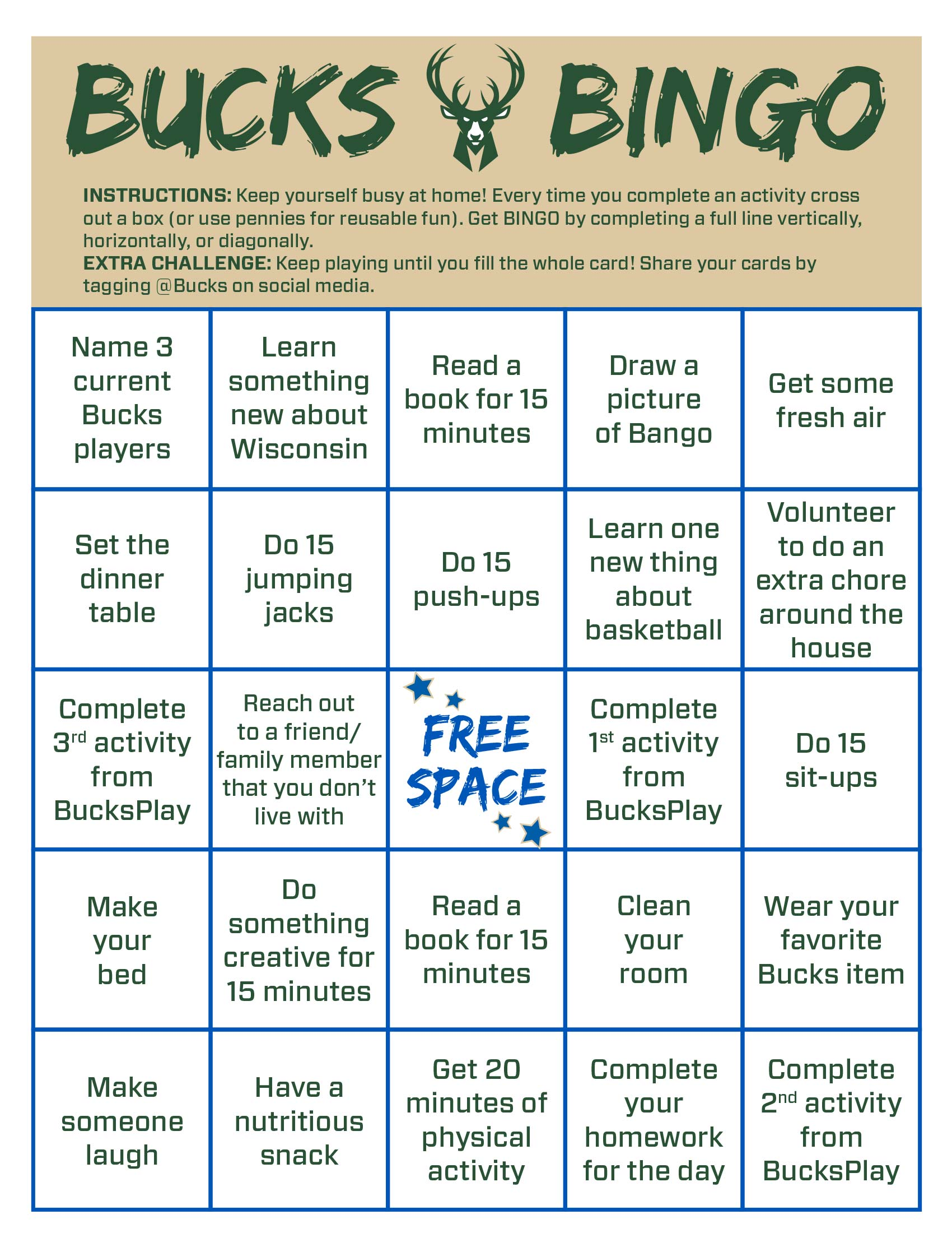 Bucks Kids Pages Bucksbingo