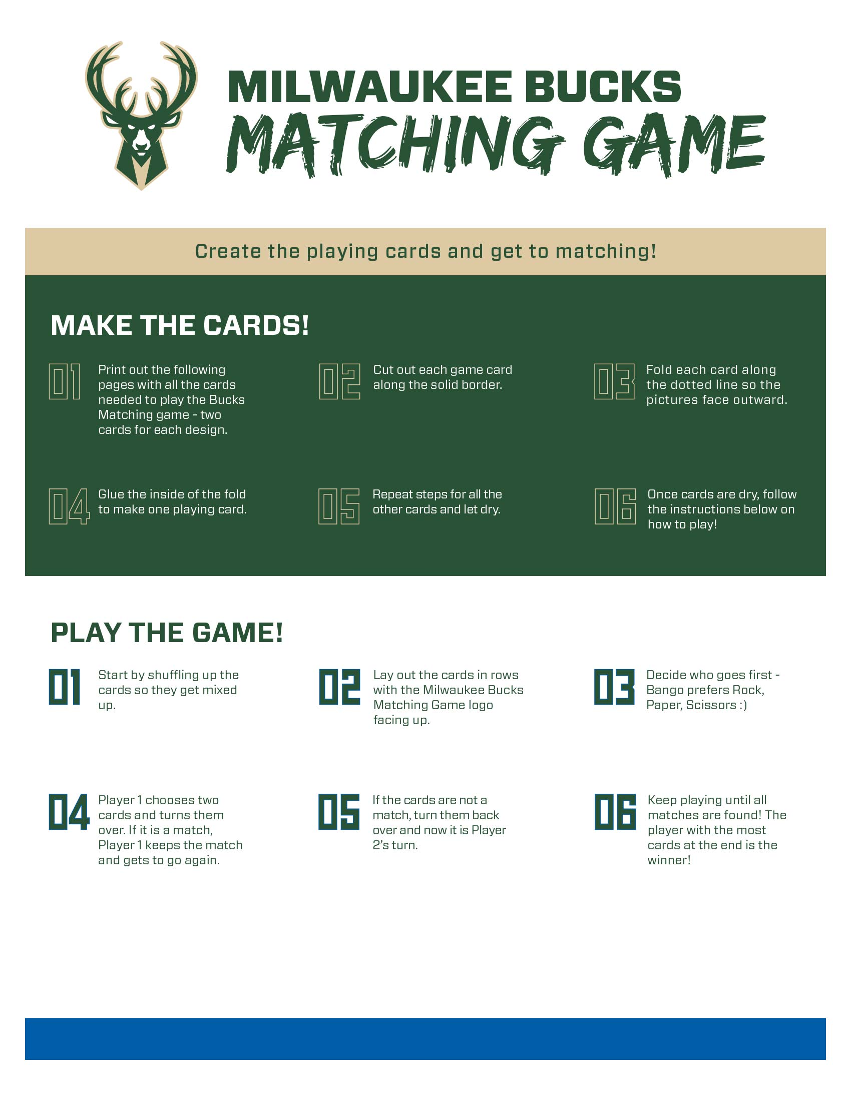 Bucks Kids Pages Matching Game