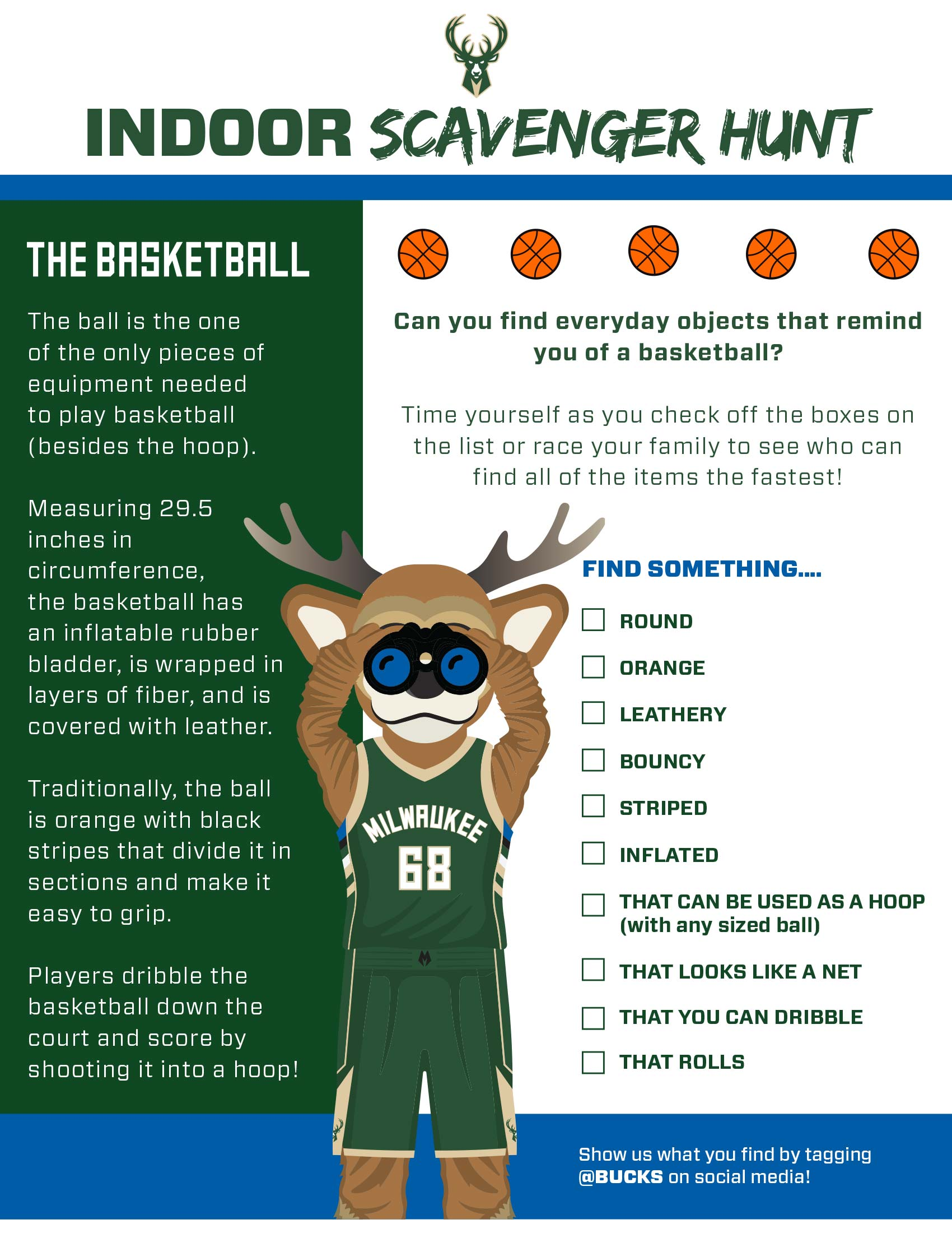 Bucks Kids Pages Indoor Scavengerhunt: The Basketball