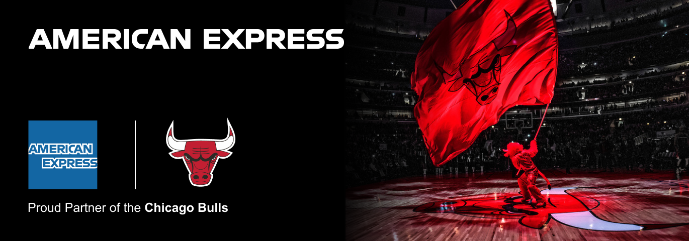 an image of the American Express Logo and the Bulls logo with Benny the Bulls waving a flag.