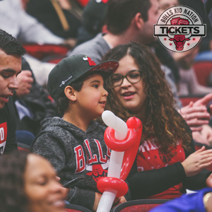 A family enjoying a game during a Bulls game