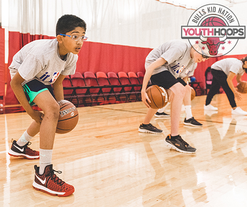Children during a youth basketball camp.