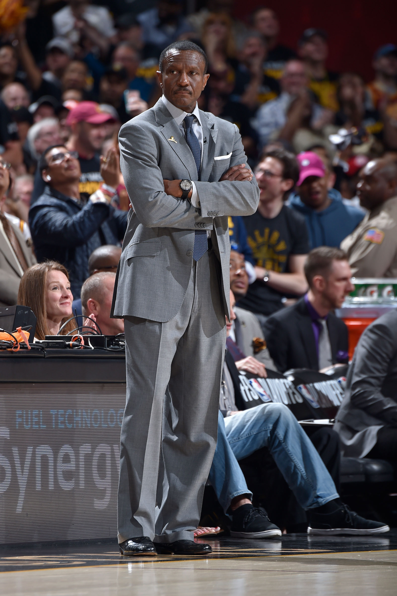 Head Coach Dwane Casey of the Toronto Raptors looks on against the Cleveland Cavaliers during Game Three of the Eastern Conference Semi Finals of the 2018 NBA Playoffs on May 5, 2018 at Quicken Loans Arena in Cleveland, Ohio.