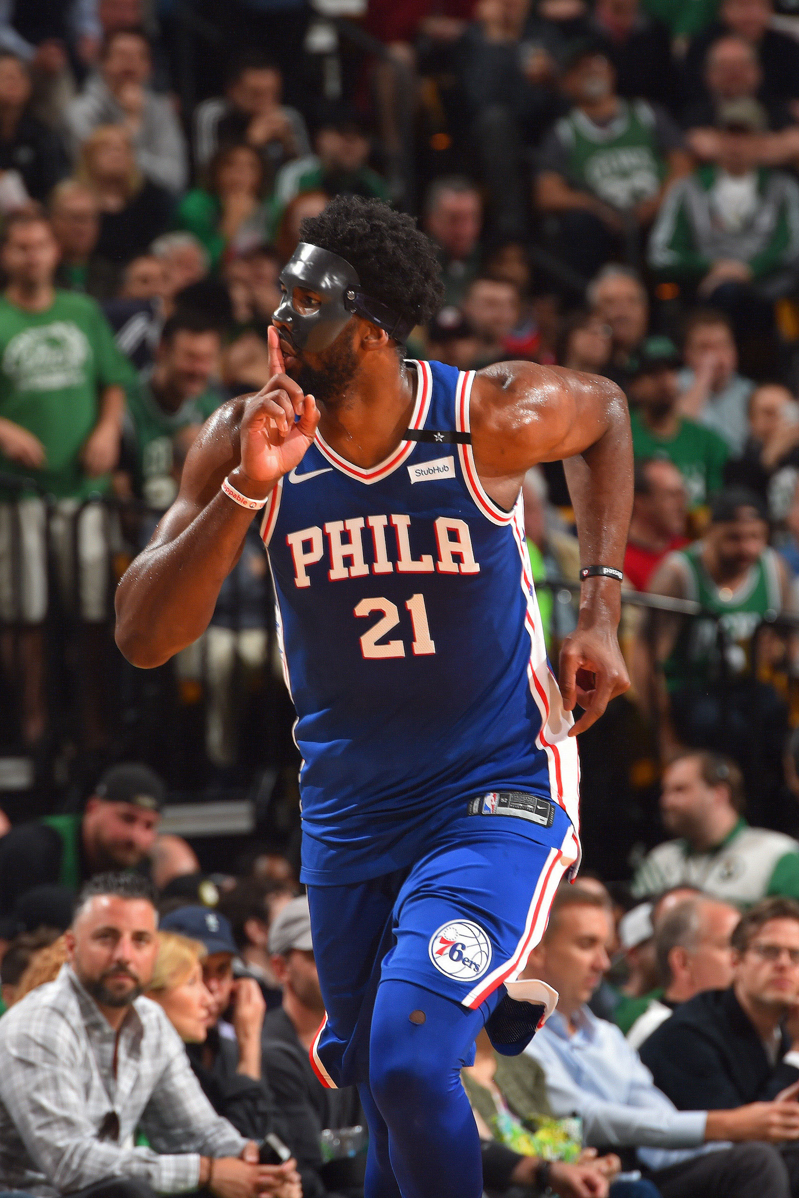 Joel Embiid #21 reacts during Game Five of the Eastern Conference Semifinals of the 2018 NBA Playoffs on May 9, 2018 at the TD Garden inBoston, Massachusetts.