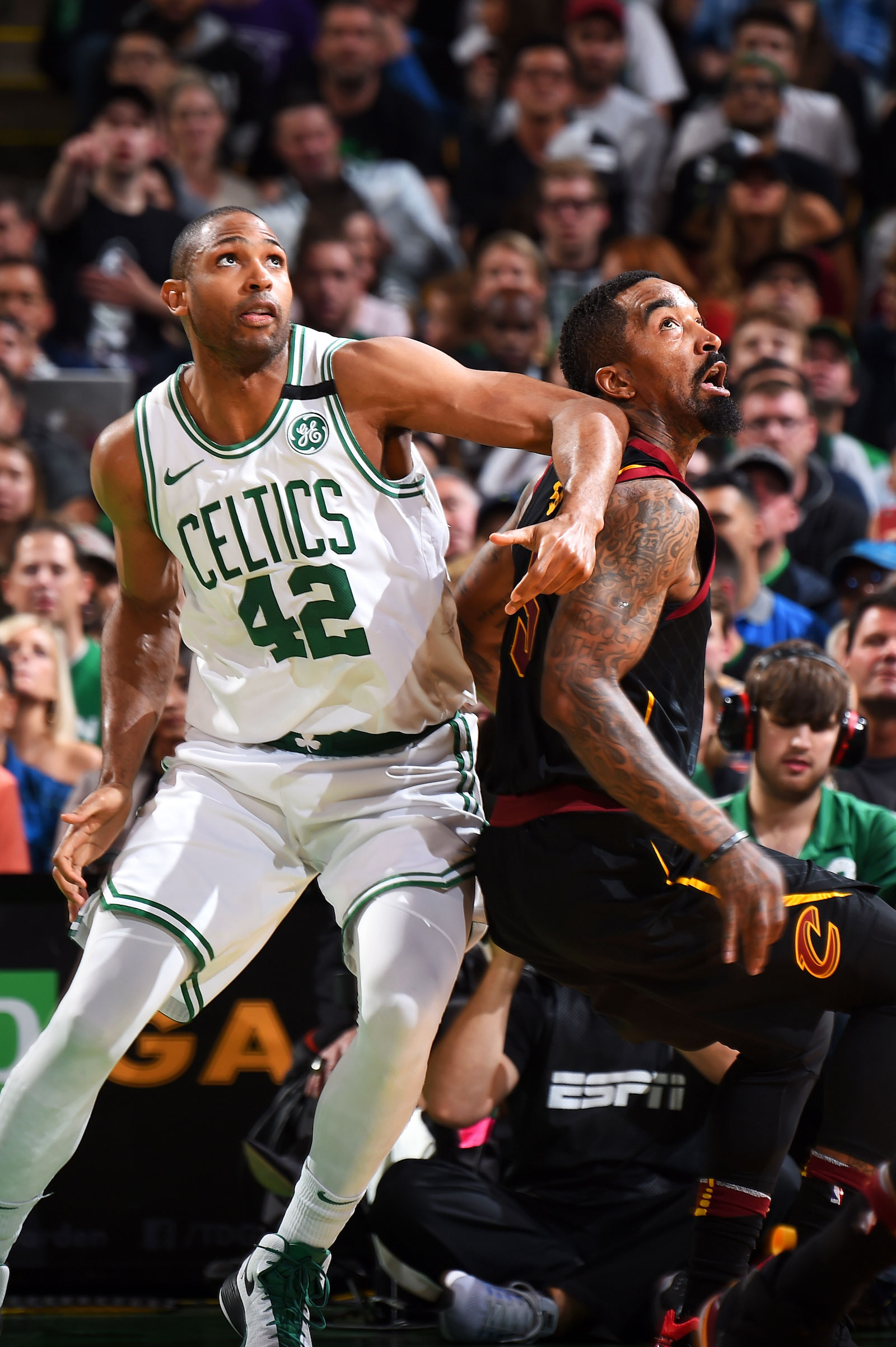Al Horford #42 of the Boston Celtics boxes out JR Smith #5 of the Cleveland Cavaliers during Game Seven of the Eastern Conference Finals of the 2018 NBA Playoffs between the Cleveland Cavaliers and Boston Celtics on May 27, 2018 at the TD Garden in Boston, Massachusetts.
