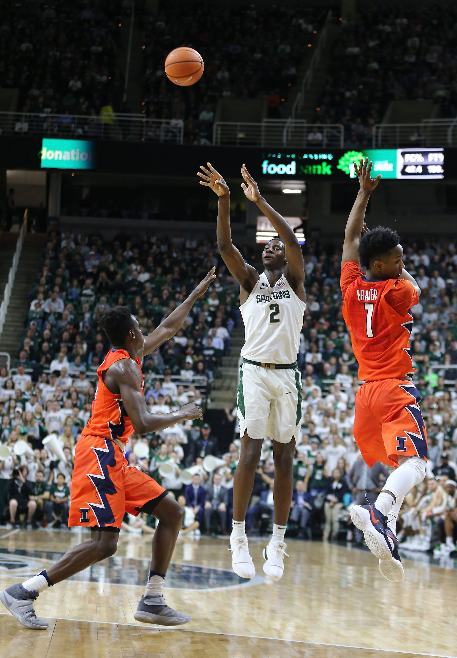 Jaren Jackson Jr. #2 of the Michigan State Spartans shoots a three pointer during a game against the Illinois Fighting Illini at Breslin Ceter on February 20, 2018 in East Lansing, Michigan.