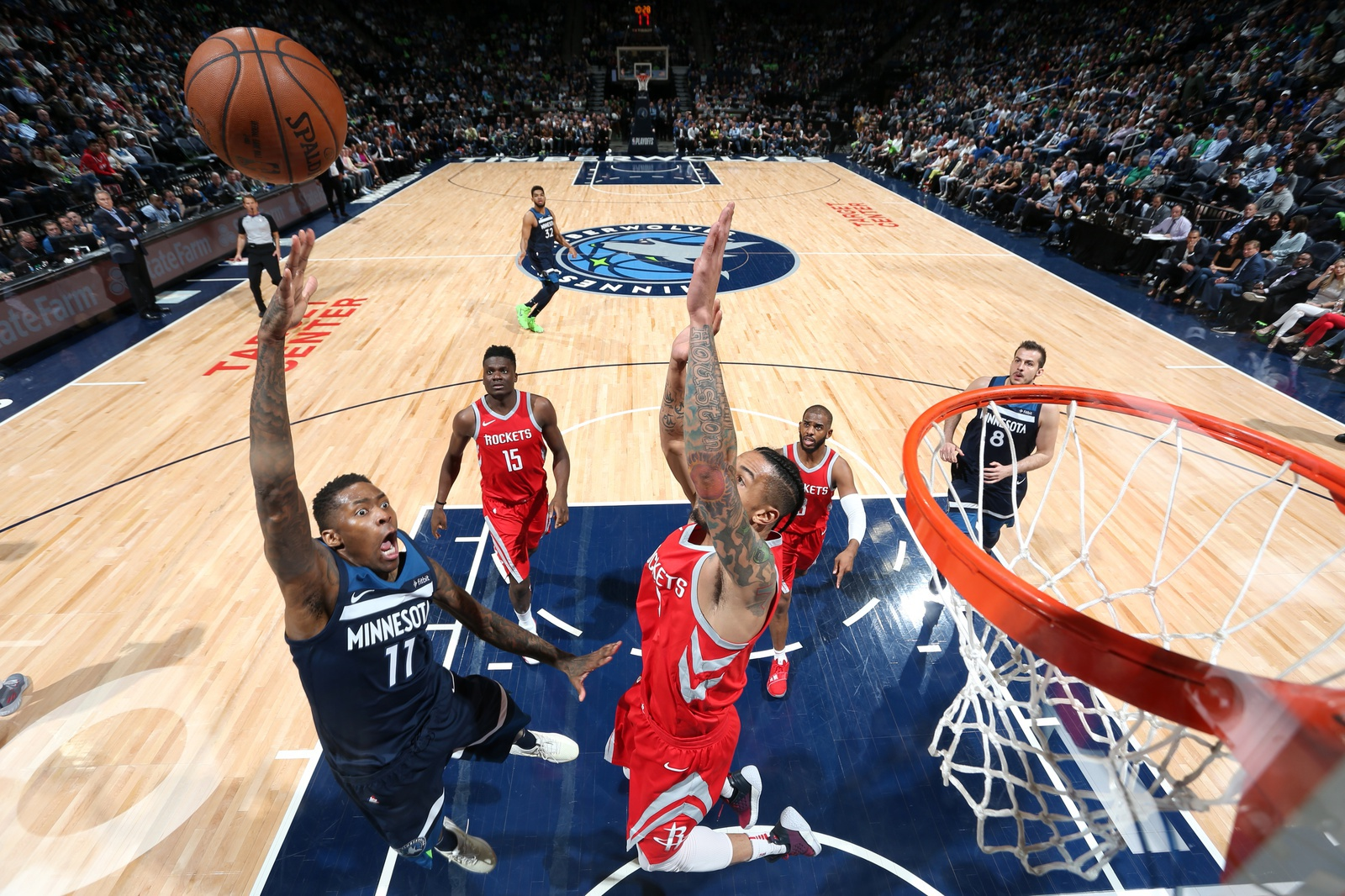 Jamal Crawford #11 of the Minnesota Timberwolves shoots the ball against the Houston Rockets in Game Three of Round One of the 2018 NBA Playoffs on April 21, 2018 at Target Center in Minneapolis, Minnesota.