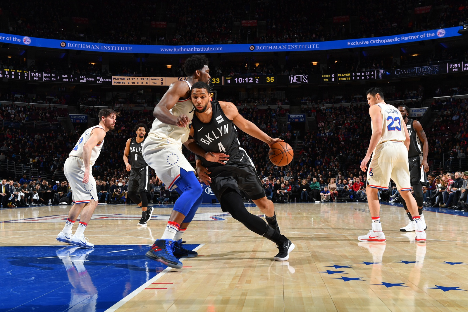 Jahlil Okafor #4 of the Brooklyn Nets drives to the basket against the Philadelphia 76ers at the Wells Fargo Center on March 16, 2018 in Philadelphia, Pennsylvania