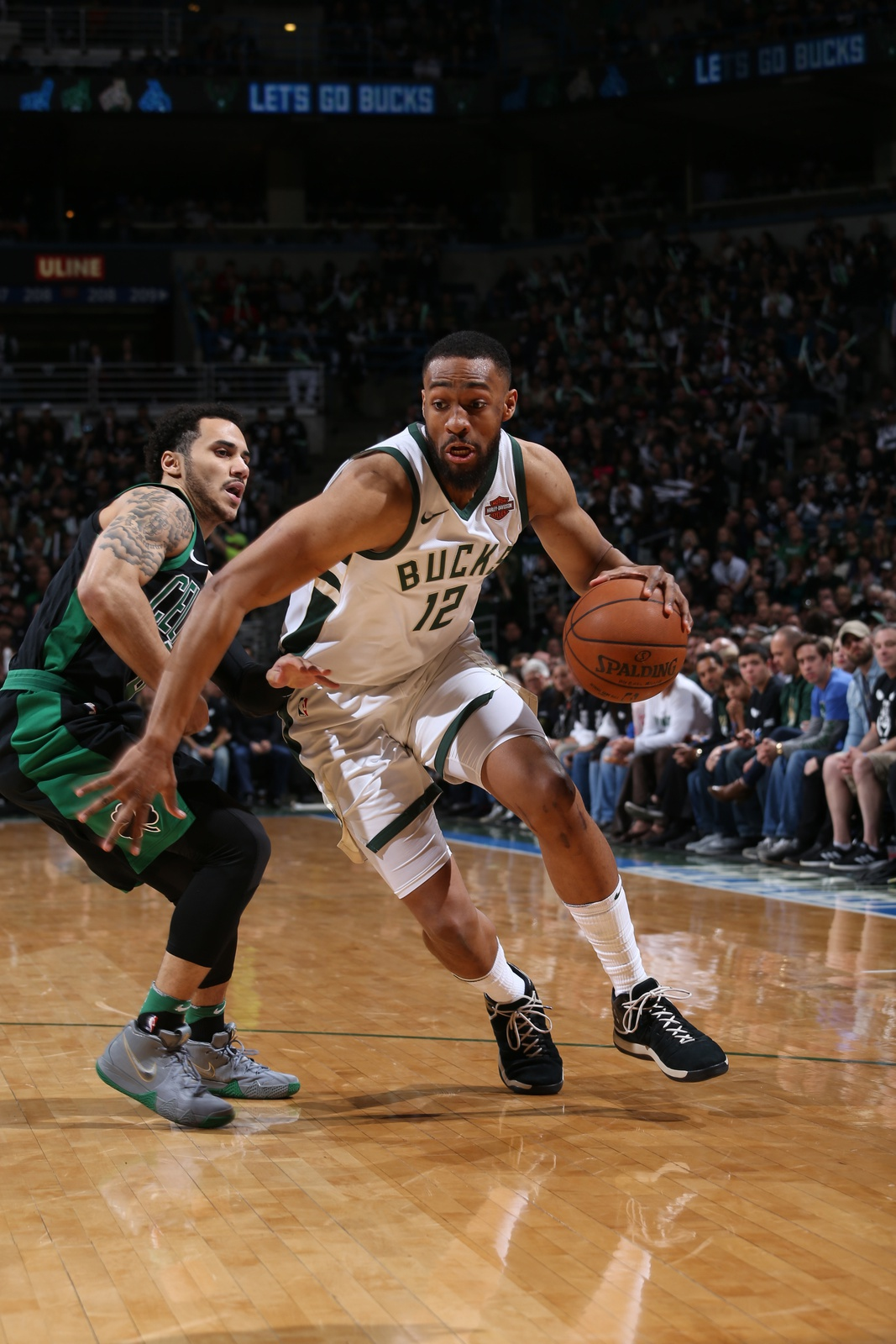 Jabari Parker #12 of the Milwaukee Bucks handles the ball against the Boston Celtics in Game Four of Round One of the 2018 NBA Playoffs on April 22, 2018 at Bradley Center in Milwaukee, Wisconsin.