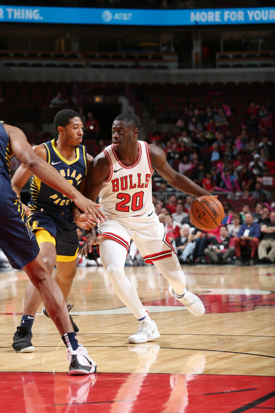 Rawle Alkins #20 of the Chicago Bulls handles the ball against the Indiana Pacers during a pre-season game on October 10, 2018 at the United Center in Chicago, Illinois.