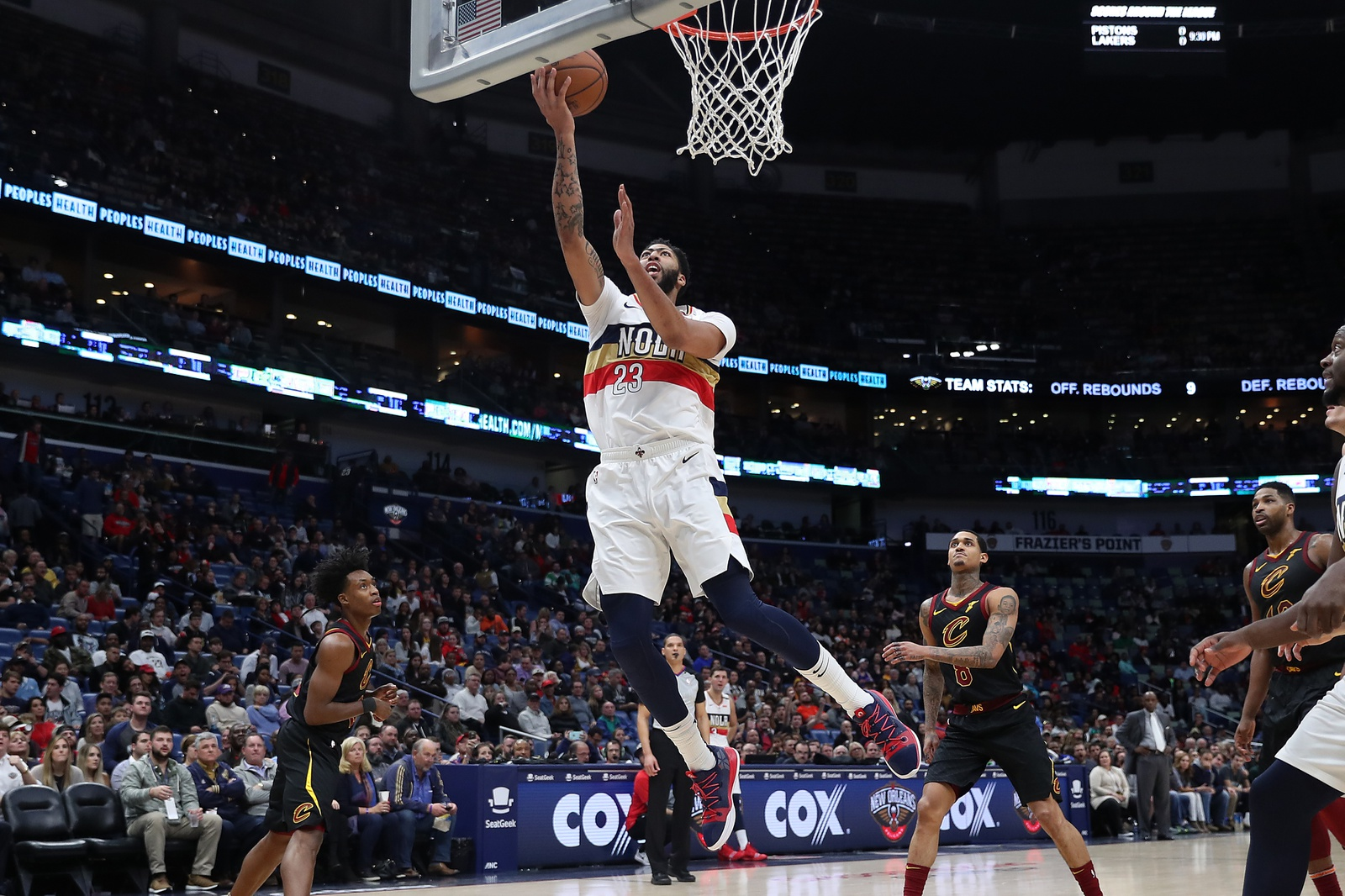 Anthony Davis #23 of the New Orleans Pelicans makes a shot against the Cleveland Cavaliers at Smoothie King Center on January 09, 2019 in New Orleans, Louisiana.