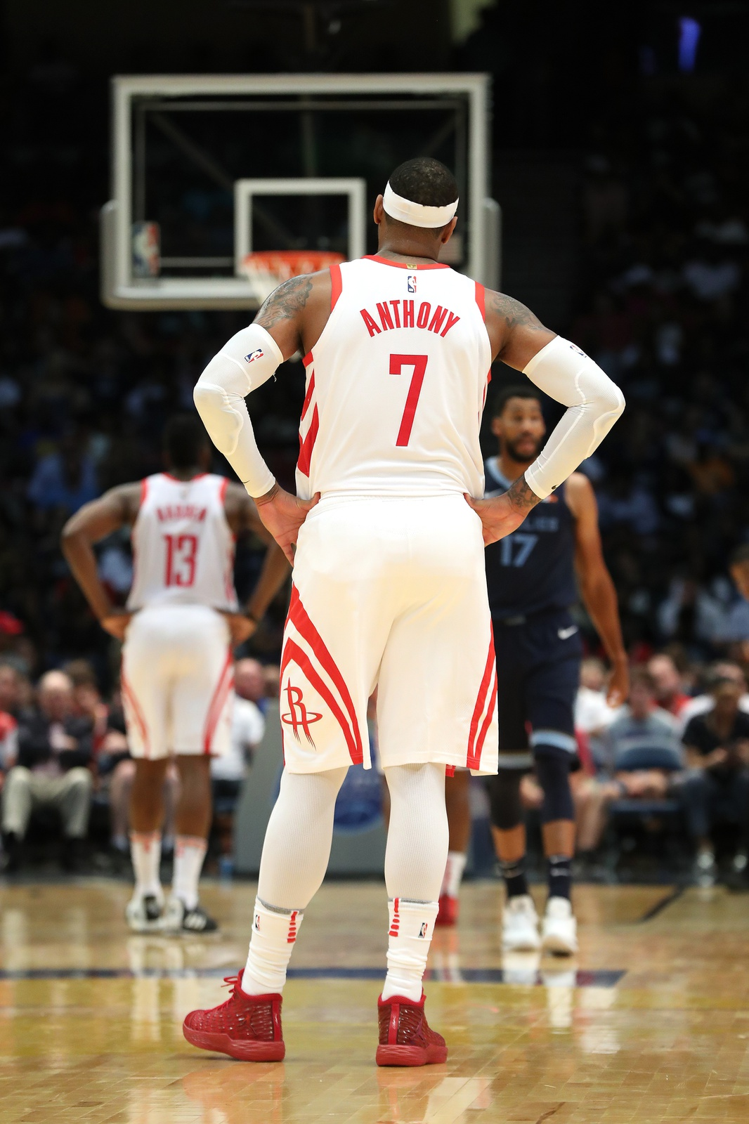 Carmelo Anthony #7 of the Houston Rockets looks on during the game against the Memphis Grizzlies on October 2, 2018 at Legacy Arena in Birmingham, Alabama.