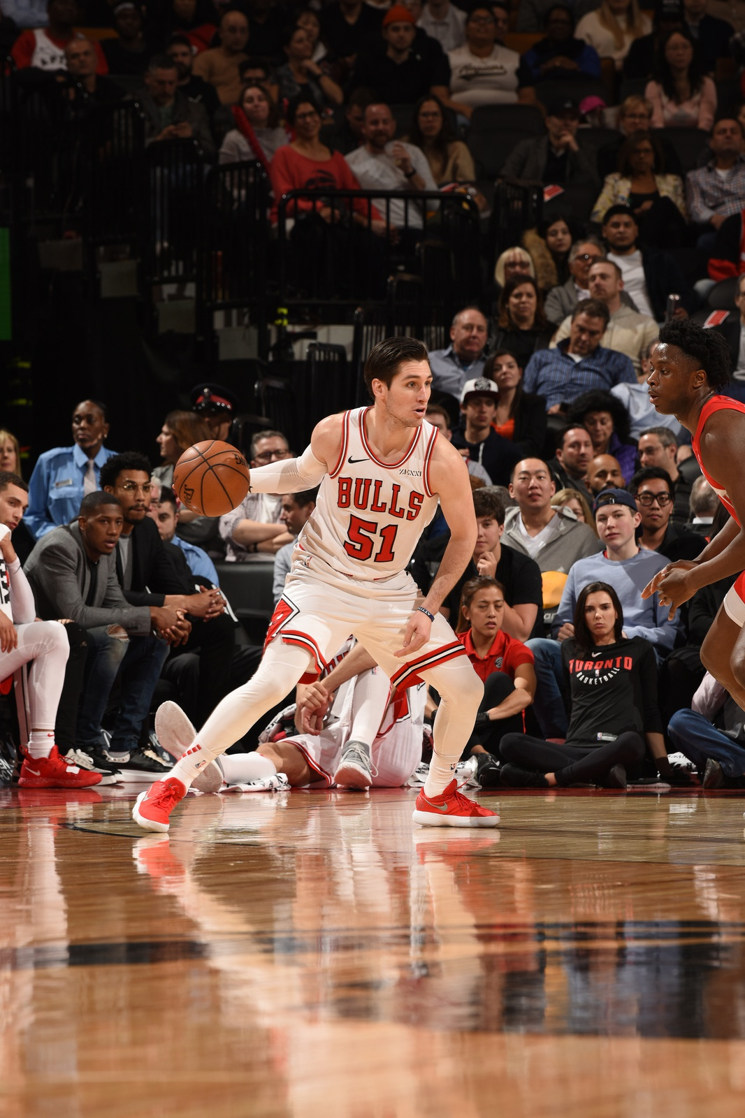 Ryan Arcidiacono #51 of the Chicago Bulls handles the ball against the Toronto Raptors on March 26, 2019 at the Scotiabank Arena in Toronto, Ontario, Canada.