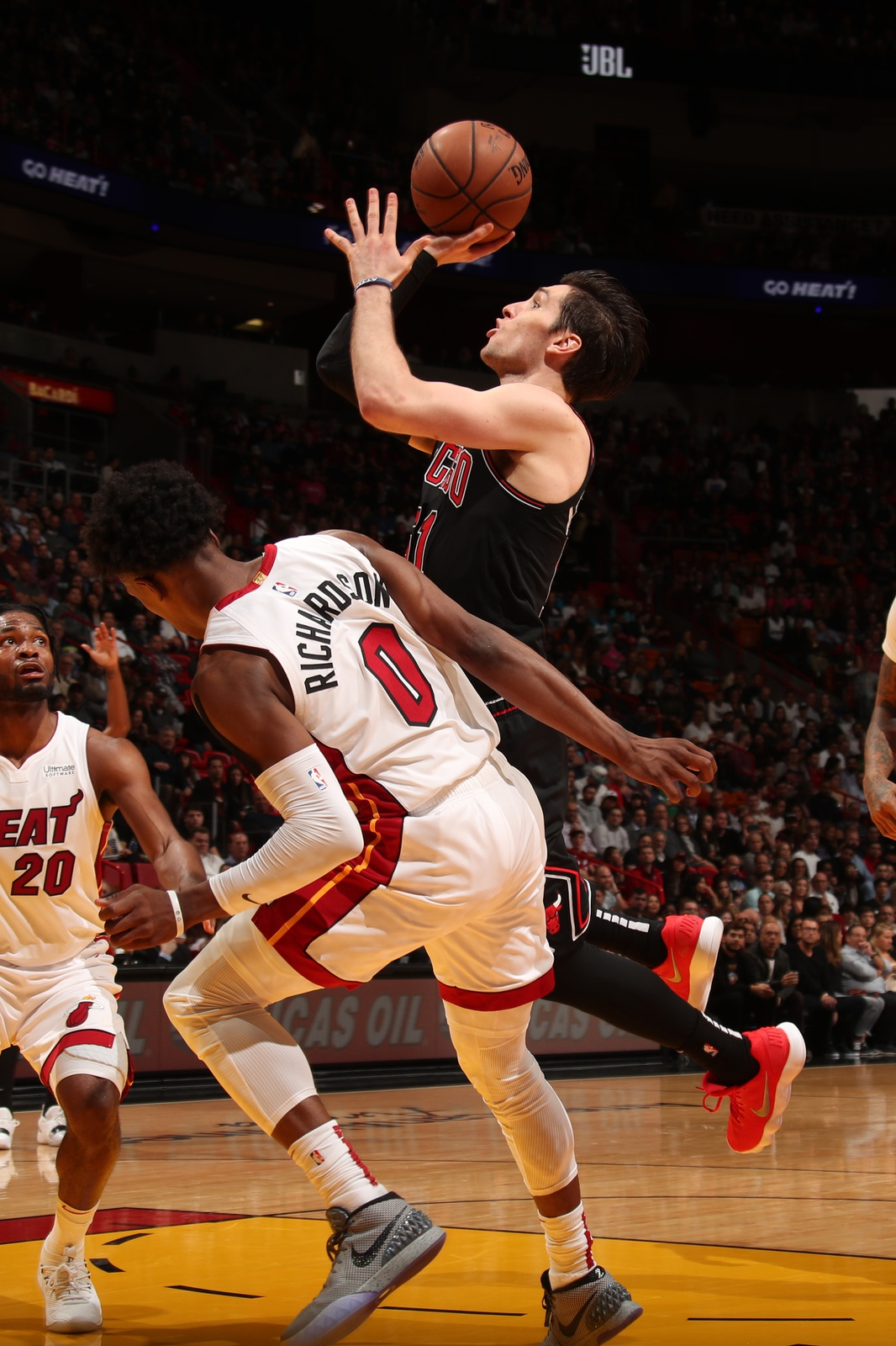Ryan Arcidiacono #51 of the Chicago Bulls shoots the ball against the Miami Heat on January 30, 2019 at American Airlines Arena in Miami, Florida.