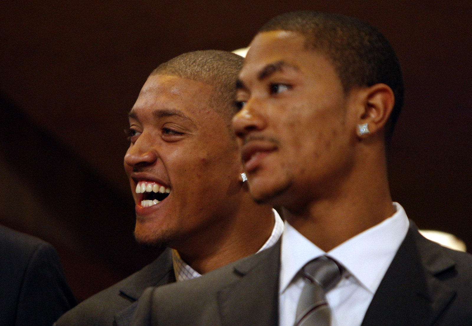 Michael Beasley laughs behind Derrick Rose prior to the 2008 NBA Draft at the WaMu Theatre at Madison Square Garden June 26, 2008 in New York City.