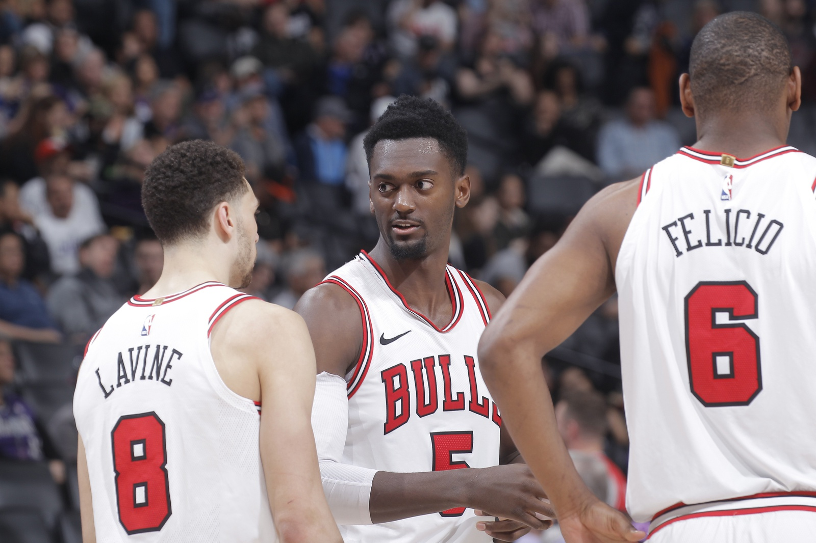 Zach Lavine #8 and Bobby Portis #5 of the Chicago Bulls talk during the game against the Sacramento Kings on February 5, 2018 at Golden 1 Center in Sacramento, California.