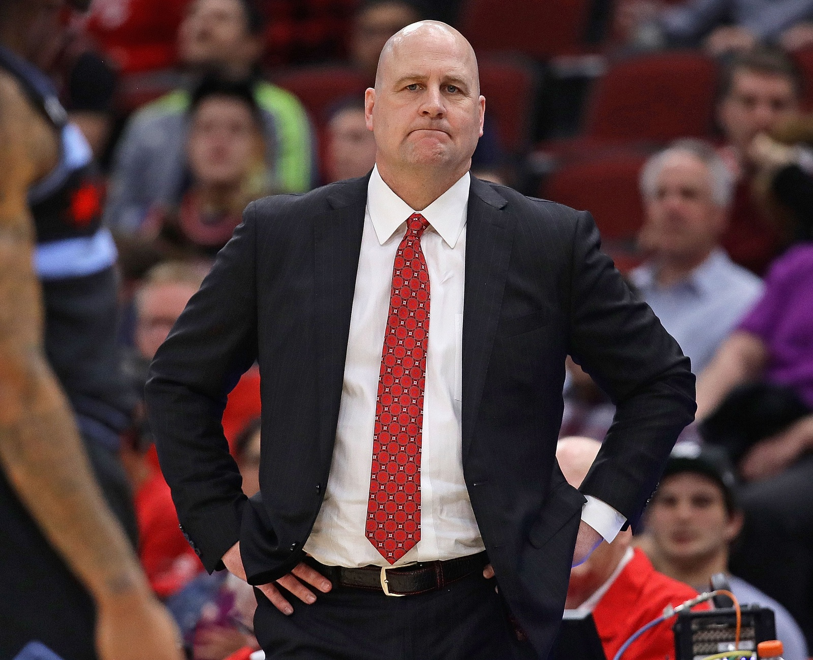 Jim Boylen of the Chicago Bulls reacts as his team takes on the New York Knicks at the United Center on April 09, 2019 in Chicago, Illinois. The Knicks defeated the Bulls 96-86.