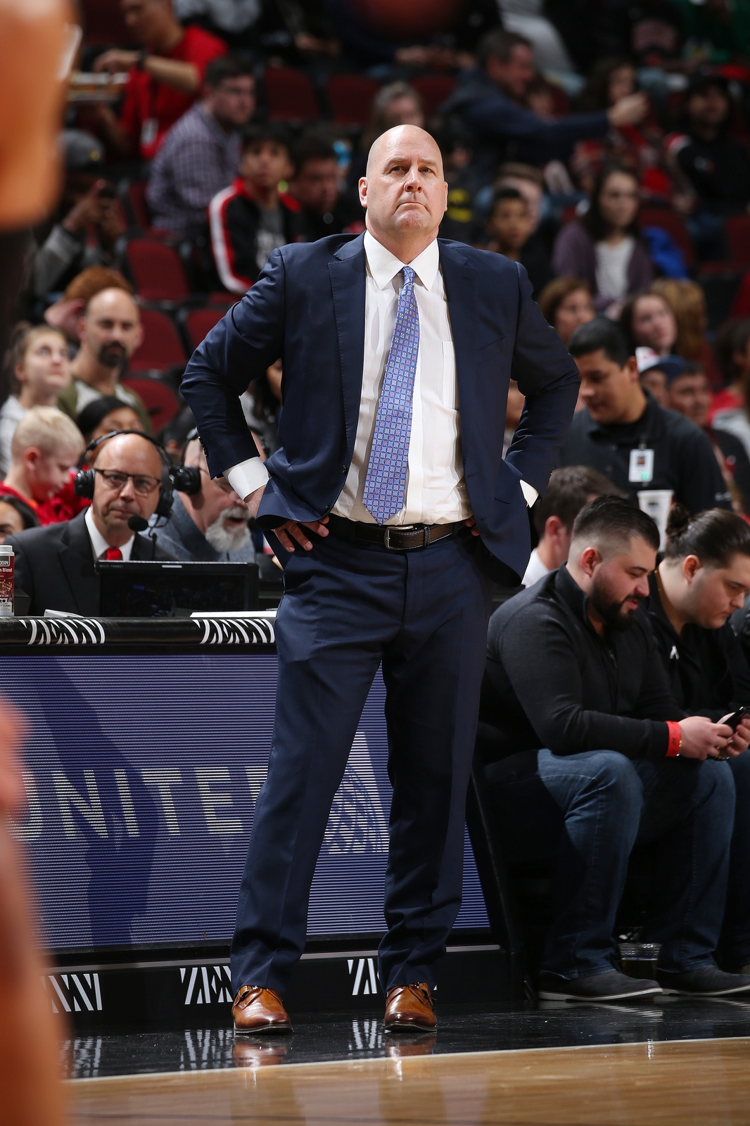 Head Coach Jim Boylen of the Chicago Bulls looks on during the game against the Brooklyn Nets on January 6, 2019 at the United Center in Chicago, Illinois.