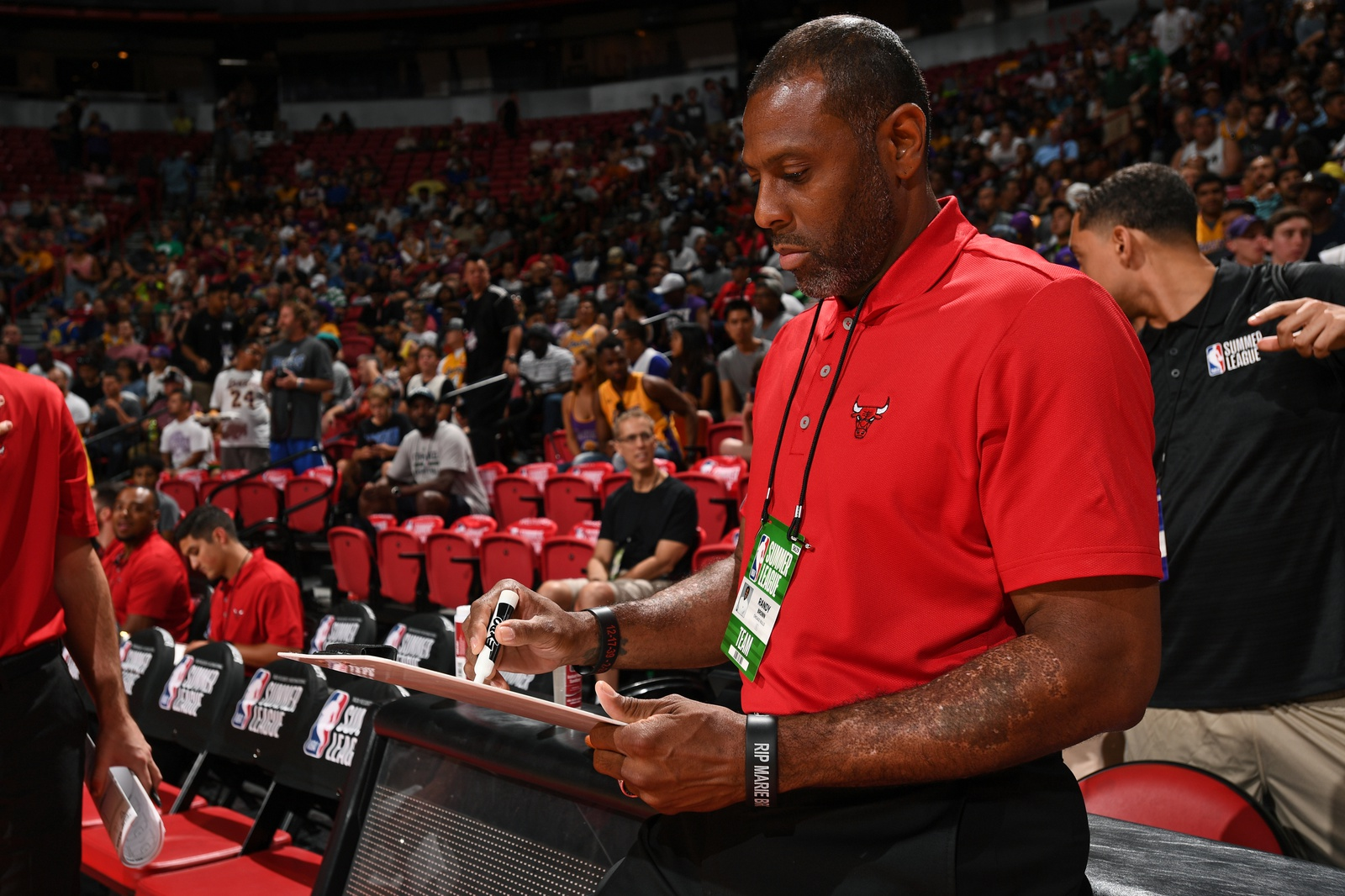 Coach Randy Brown of the Bulls writes on his clipboard during a game against the Dallas Mavericks on July 8, 2017 at the Thomas & Mack Center in Las Vegas, Nevada.