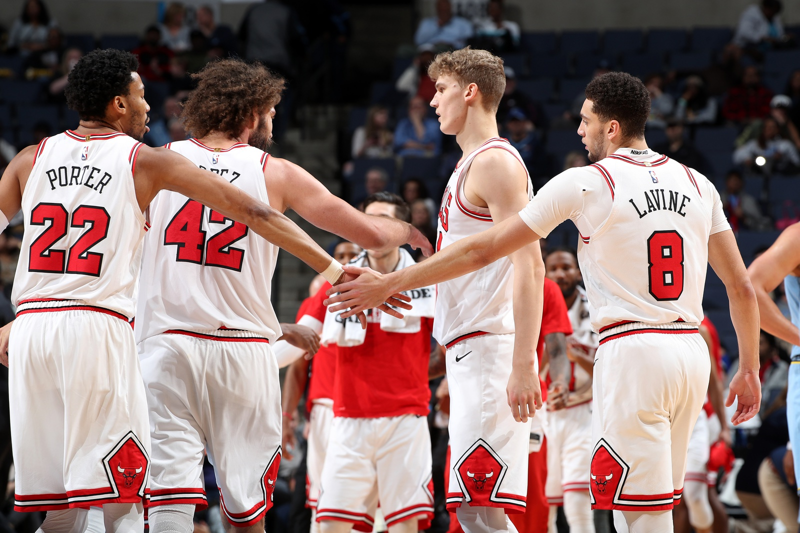 Otto Porter Jr. #22 and Zach LaVine #8 of the Chicago Bulls high five during the game against the Memphis Grizzlies on February 27, 2019 at FedExForum in Memphis, Tennessee.