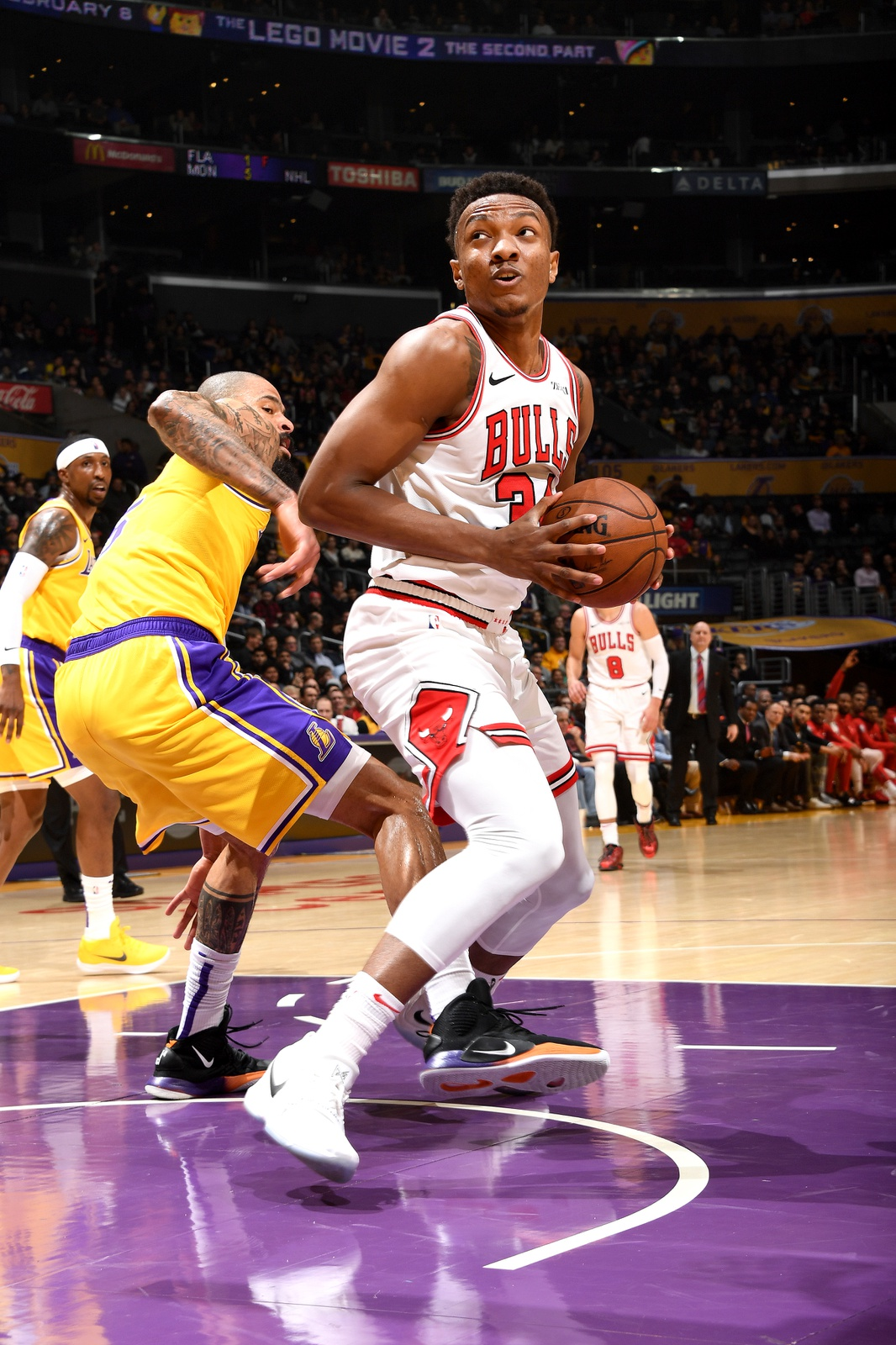 Wendell Carter Jr. #34 of the Chicago Bulls handles the ball against the Los Angeles Lakerson January 15, 2019 at STAPLES Center in Los Angeles, California.
