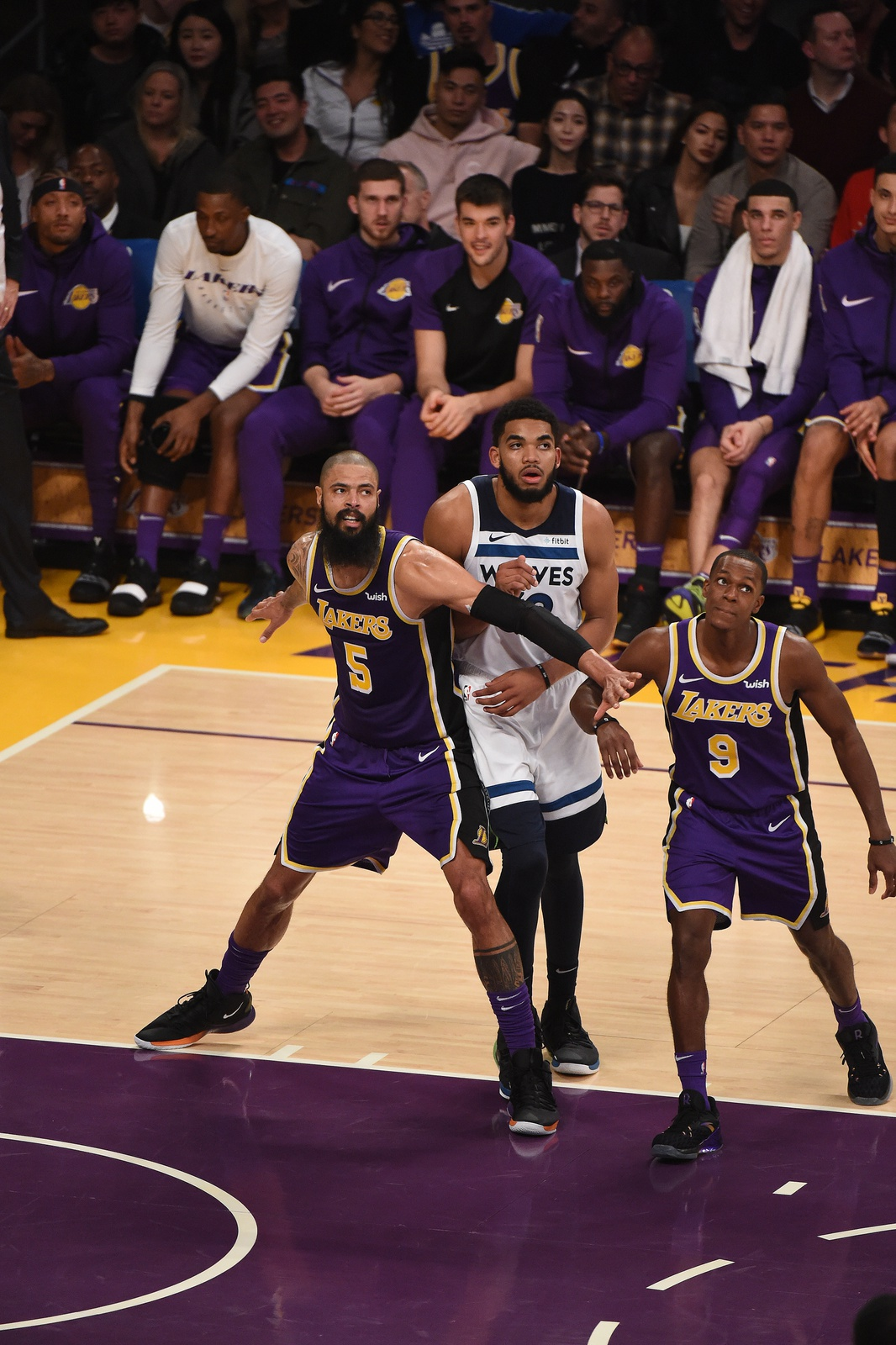 Tyson Chandler #5 of the Los Angeles Lakers fights for position against Karl-Anthony Towns #32 of the Minnesota Timberwolves on November 7, 2018 at Staples Center in Los Angeles, California.