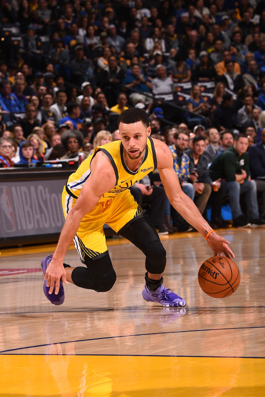 Stephen Curry #30 of the Golden State Warriors handles the ball against the Denver Nuggets on March 8, 2019 at ORACLE Arena in Oakland, California.