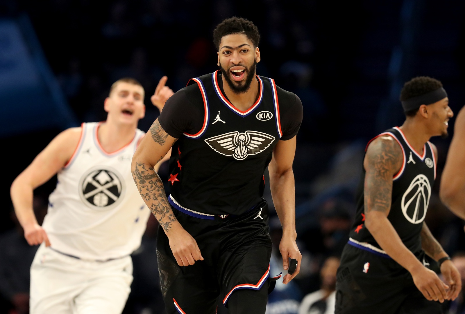 Anthony Davis #23 of the New Orleans Pelicans and Team LeBron reacts against Team Giannis in the first quarter during the NBA All-Star game as part of the 2019 NBA All-Star Weekend at Spectrum Center on February 17, 2019 in Charlotte, North Carolina.