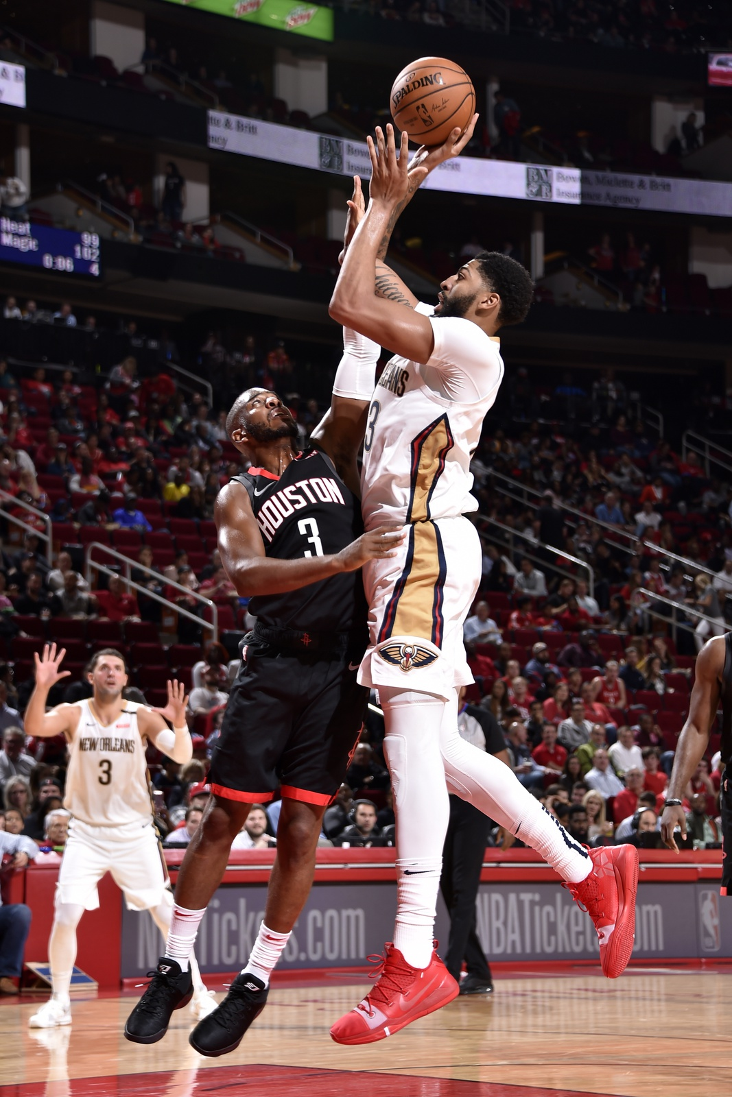Anthony Davis #23 of the New Orleans Pelicans shoots the ball against the Houston Rockets during a game on October 17, 2018 at Toyota Center, in Houston, Texas.