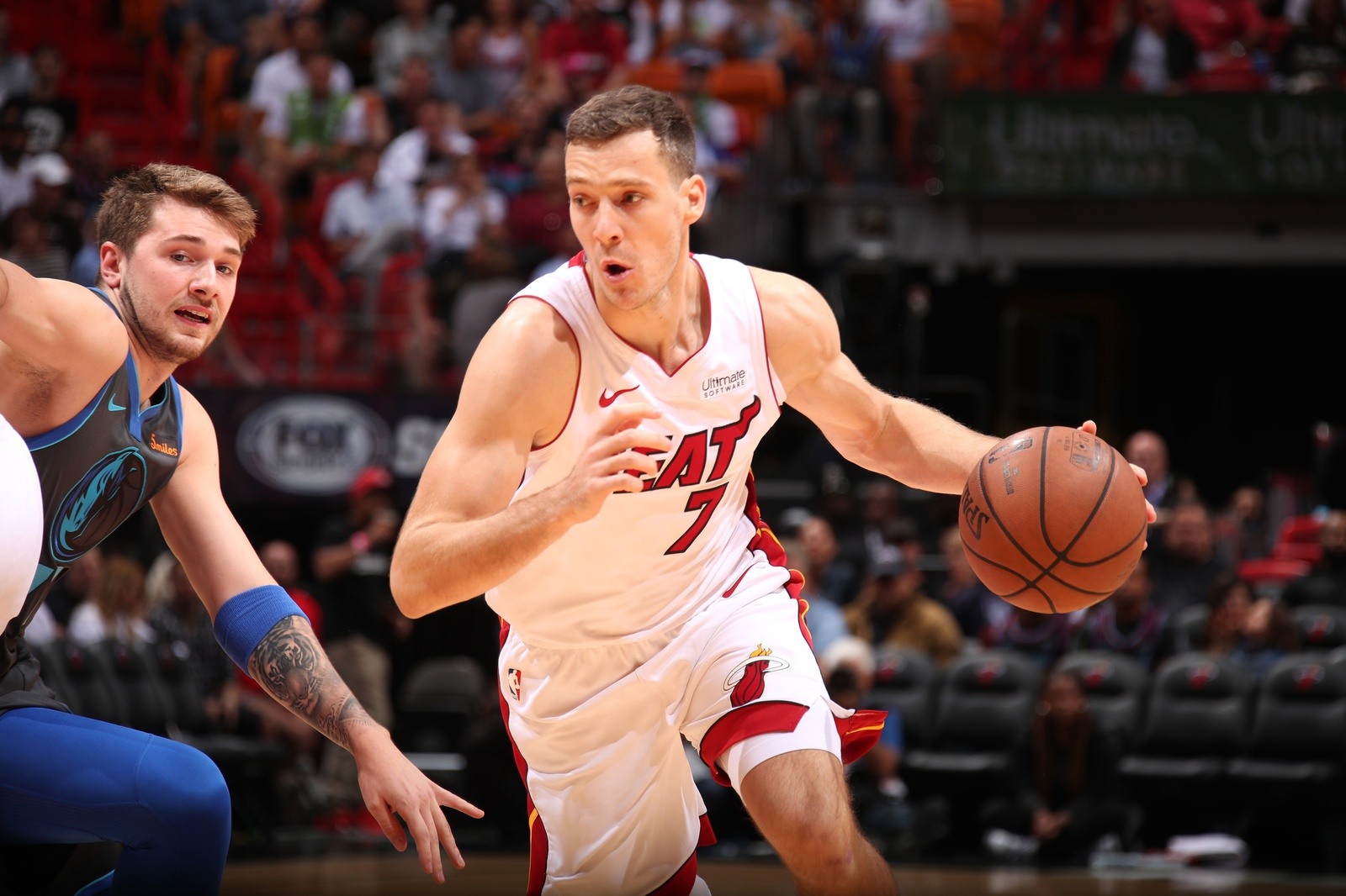 Goran Dragic #7 of the Miami Heat drives to the basket against the Dallas Mavericks on March 28, 2019 at American Airlines Arena in Miami, Florida.