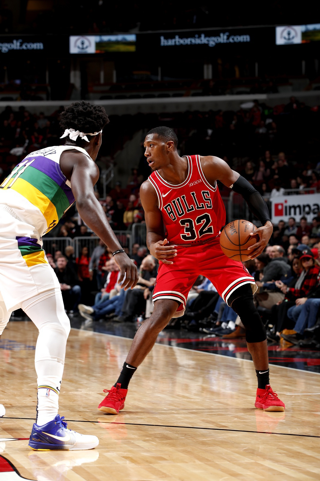 Kris Dunn #32 of the Chicago Bulls handles the ball against the New Orleans Pelicans on February 6, 2019 at United Center in Chicago, Illinois.