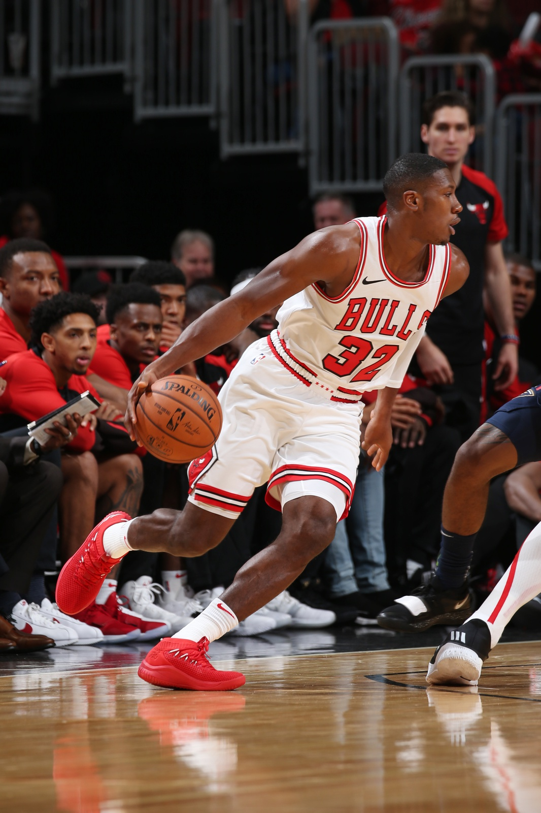 Kris Dunn #32 of the Chicago Bulls handles the ball against the New Orleans Pelicans during a pre-season game on September 30, 2018 at the United Center in Chicago, Illinois.