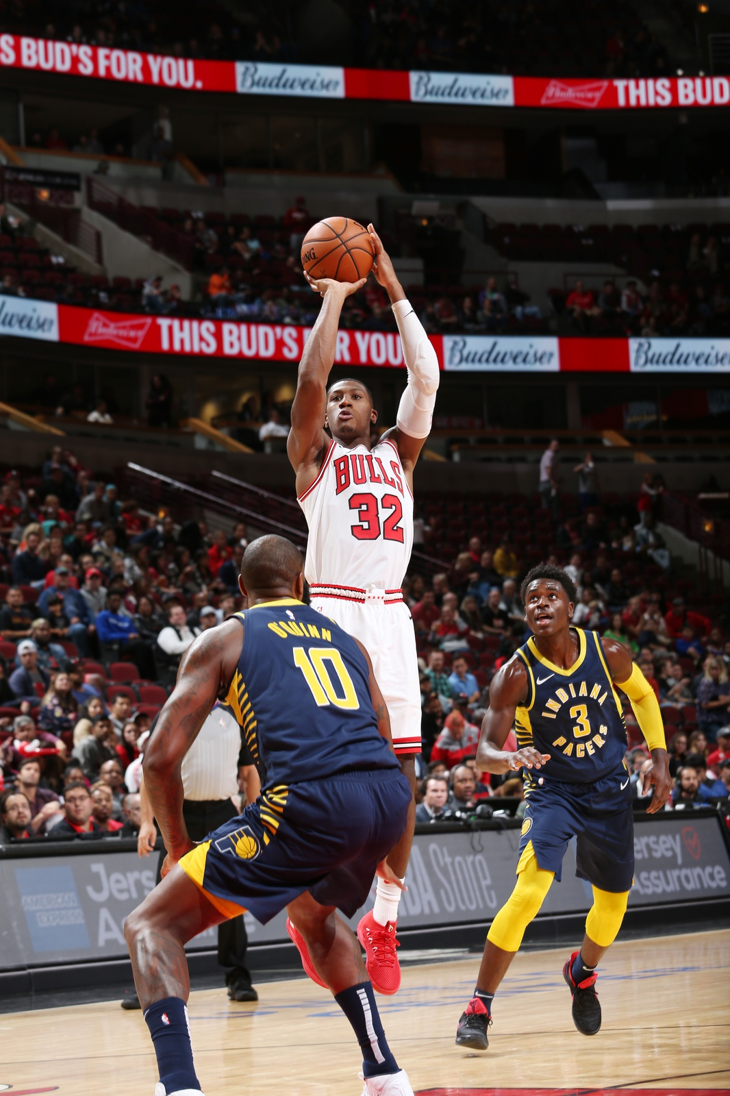 Kris Dunn #32 of the Chicago Bulls shoots the ball against the Indiana Pacers during a pre-season game on October 10, 2018 at the United Center in Chicago, Illinois.