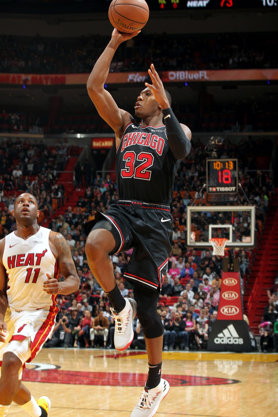 Kris Dunn #32 of the Chicago Bulls shoots the ball against the Miami Heat on January 30, 2019 at American Airlines Arena in Miami, Florida.