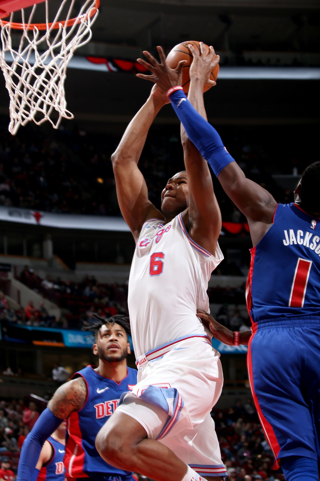 Cristiano Felicio #6 of the Chicago Bulls goes to the basket against the Detroit Pistons on April 11, 2018 at the United Center in Chicago, Illinois.