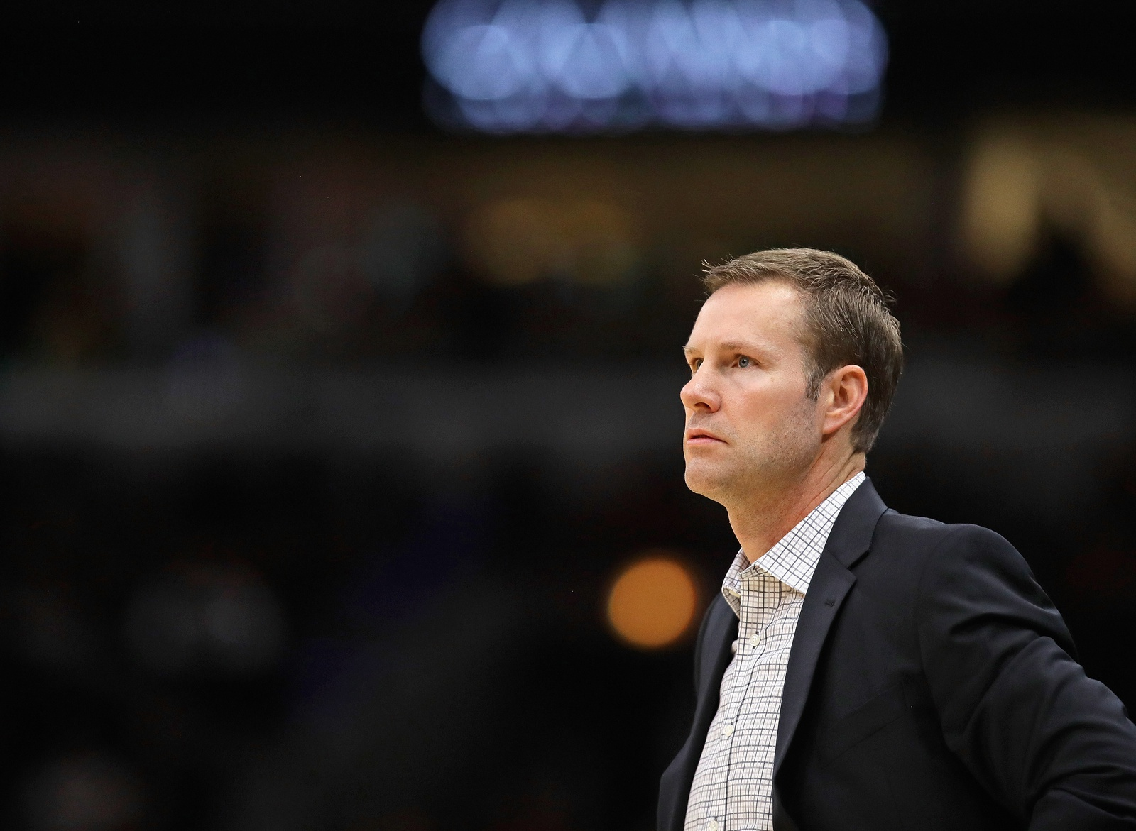 Head coach Fred Hoiberg of the Chicago Bulls watches as his team takes on the Toronto Raptors at United Center on November 17, 2018 in Chicago, Illinois.