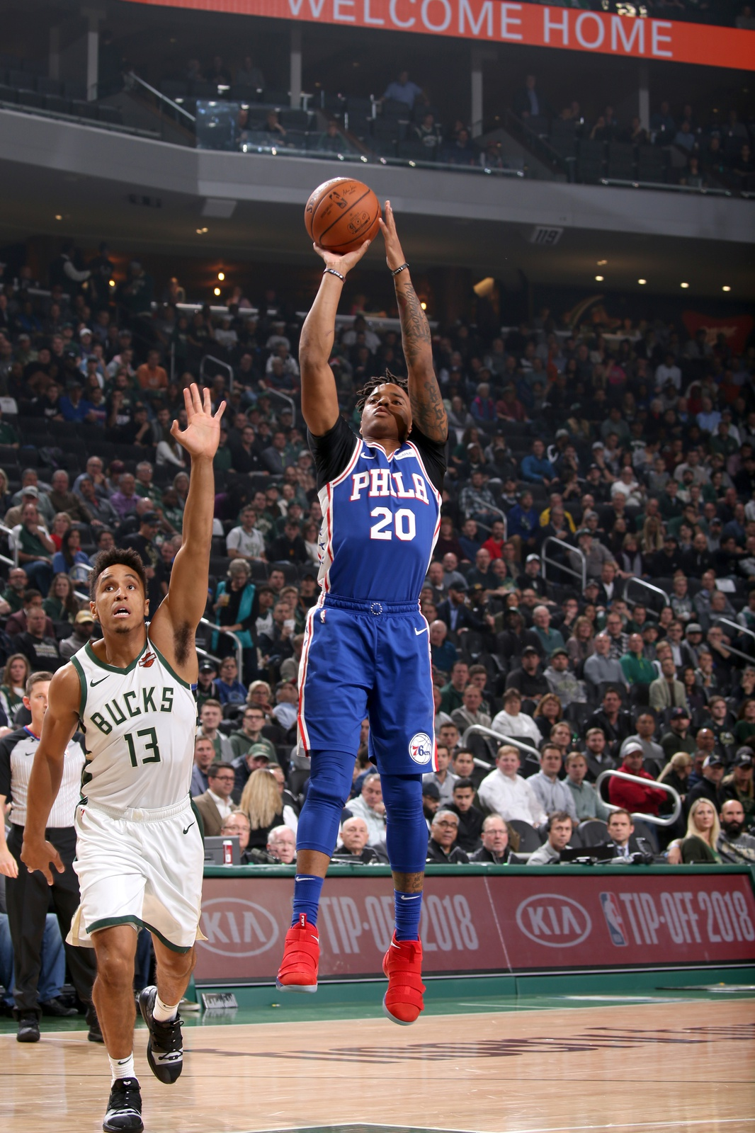 Markelle Fultz #20 of the Philadelphia 76ers shoots the ball against the Milwaukee Bucks on October 24, 2018 at Fiserv Forum in Milwaukee, Wisconsin.