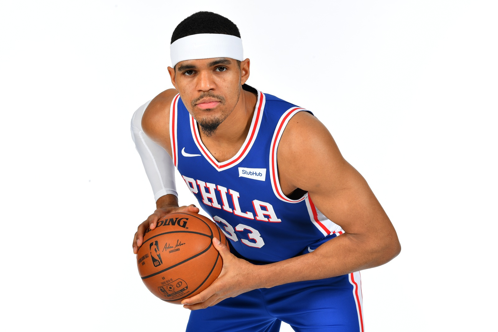 Tobias Harris #33 of the Philadelphia 76ers poses for a portrait on February 7, 2019 at the Philadelphia 76ers Training Complex in Camden, New Jersey.