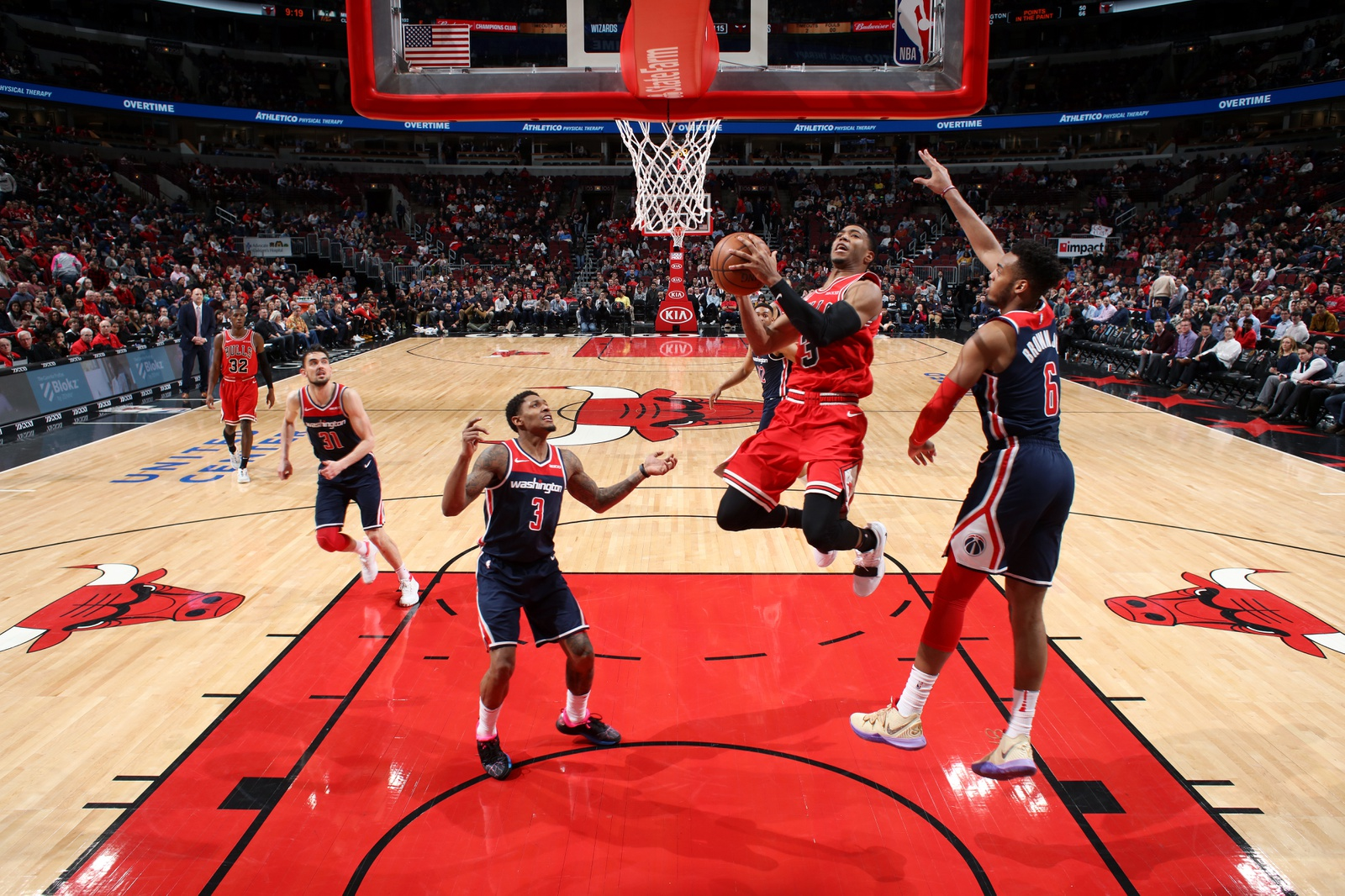 Shaquille Harrison #3 of the Chicago Bulls goes to the basket against the Washington Wizards on March 20, 2019 at the United Center in Chicago, Illinois