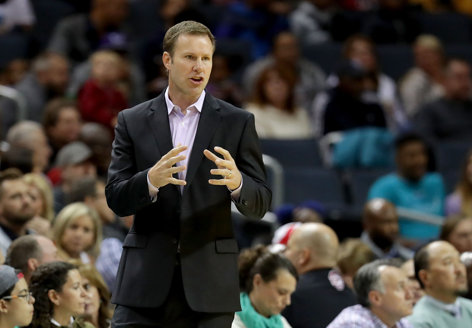24ffe0c247cb Head coach Fred Hoiberg of the Chicago Bulls reacts on the sidelines  against the Charlotte Hornets