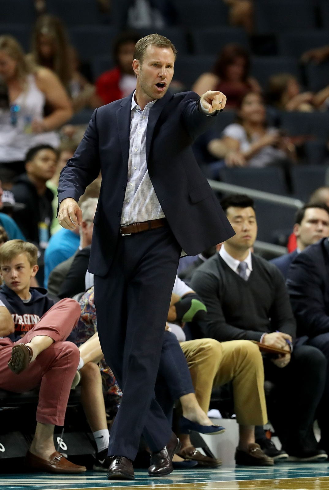 Head coach Fred Hoiberg of the Chicago Bulls watches on against the Charlotte Hornets during their game at Spectrum Center on October 8, 2018 in Charlotte, North Carolina.